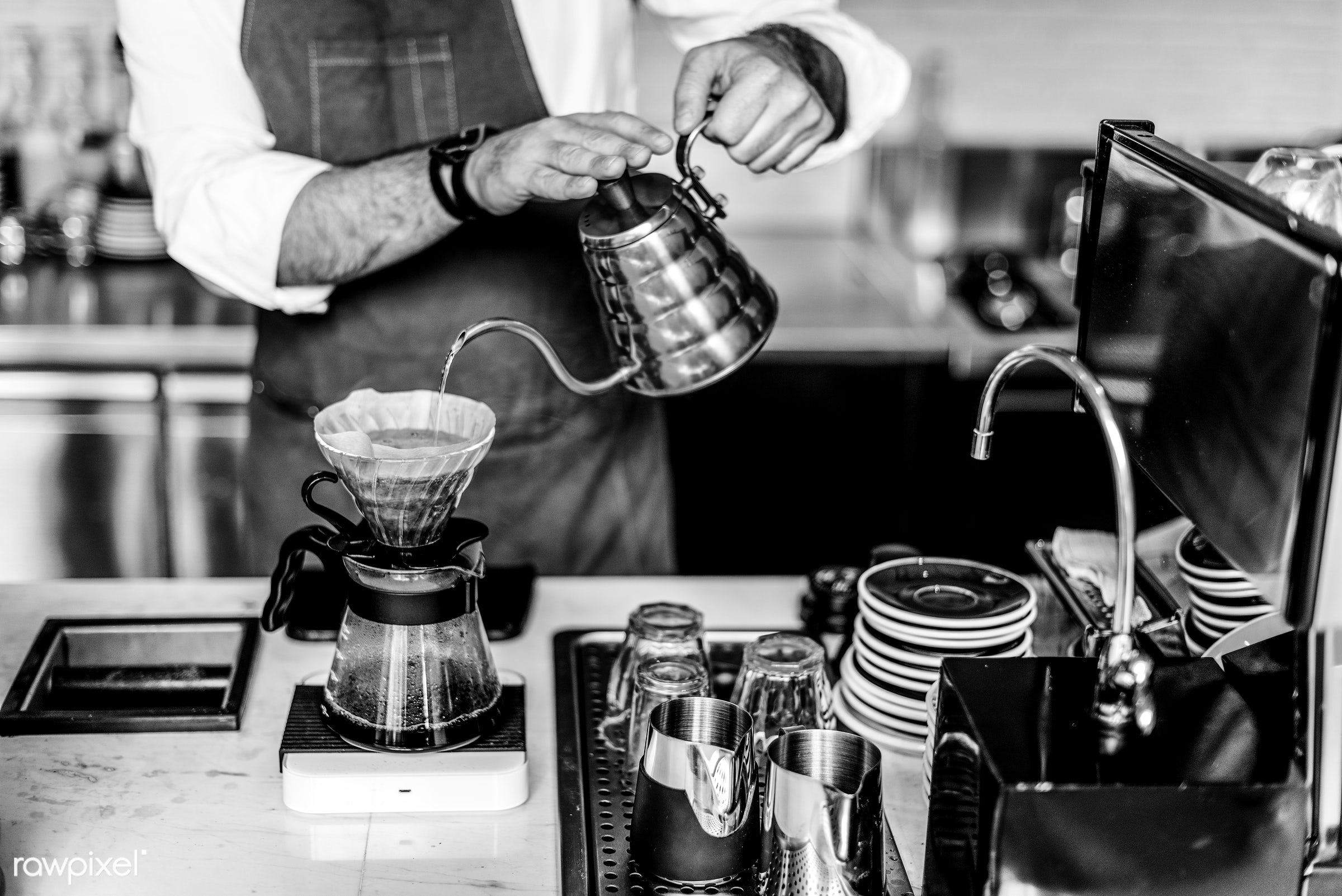 appliance, apron, attractive, bar, barista, business, cafe, cafeteria, coffee, coffee mill, coffee shop, counter, cup, day,...