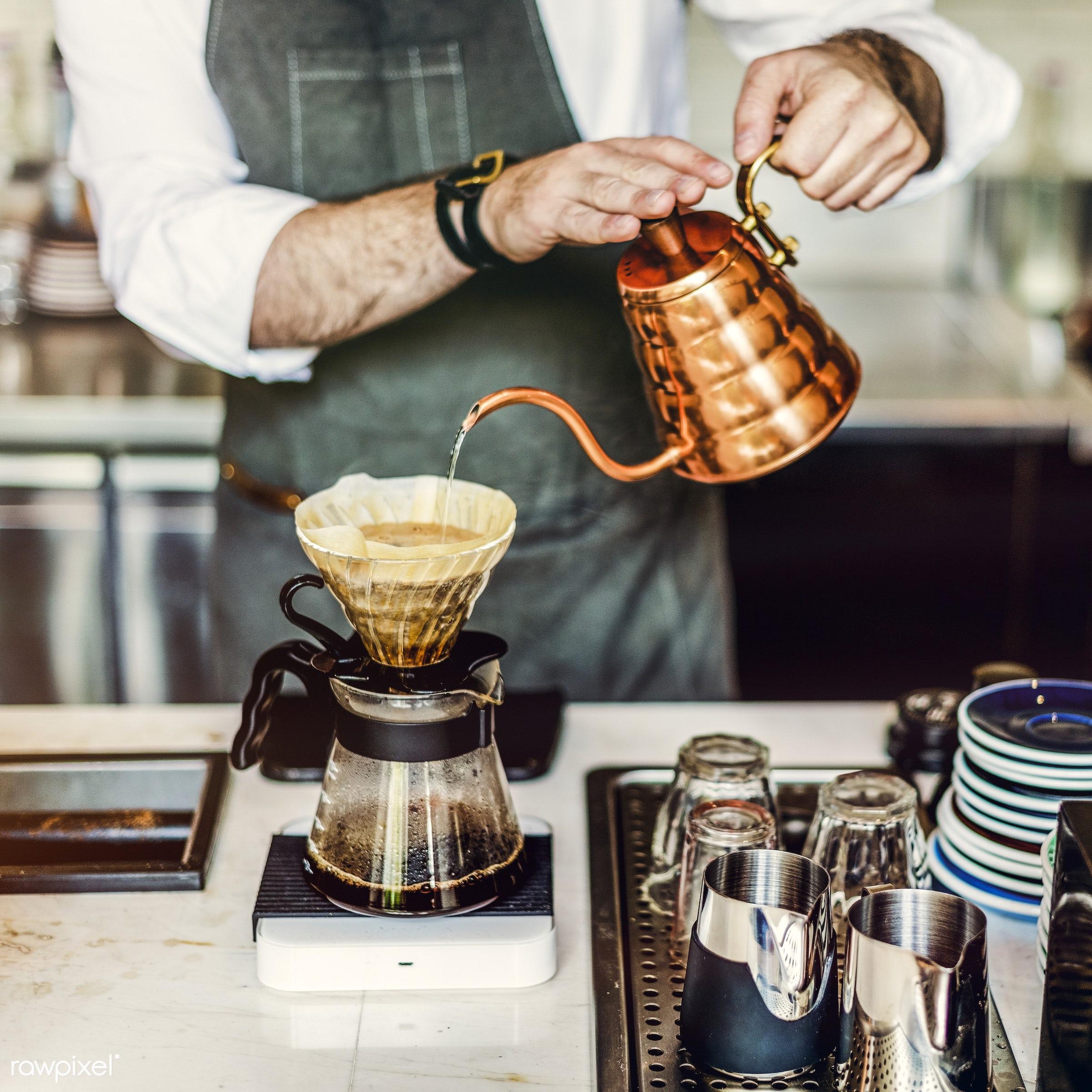 Barista is making coffee - coffee, alone, barista, beverage, brew, career, coffee shop, drink, drip, jug, machine, making,...