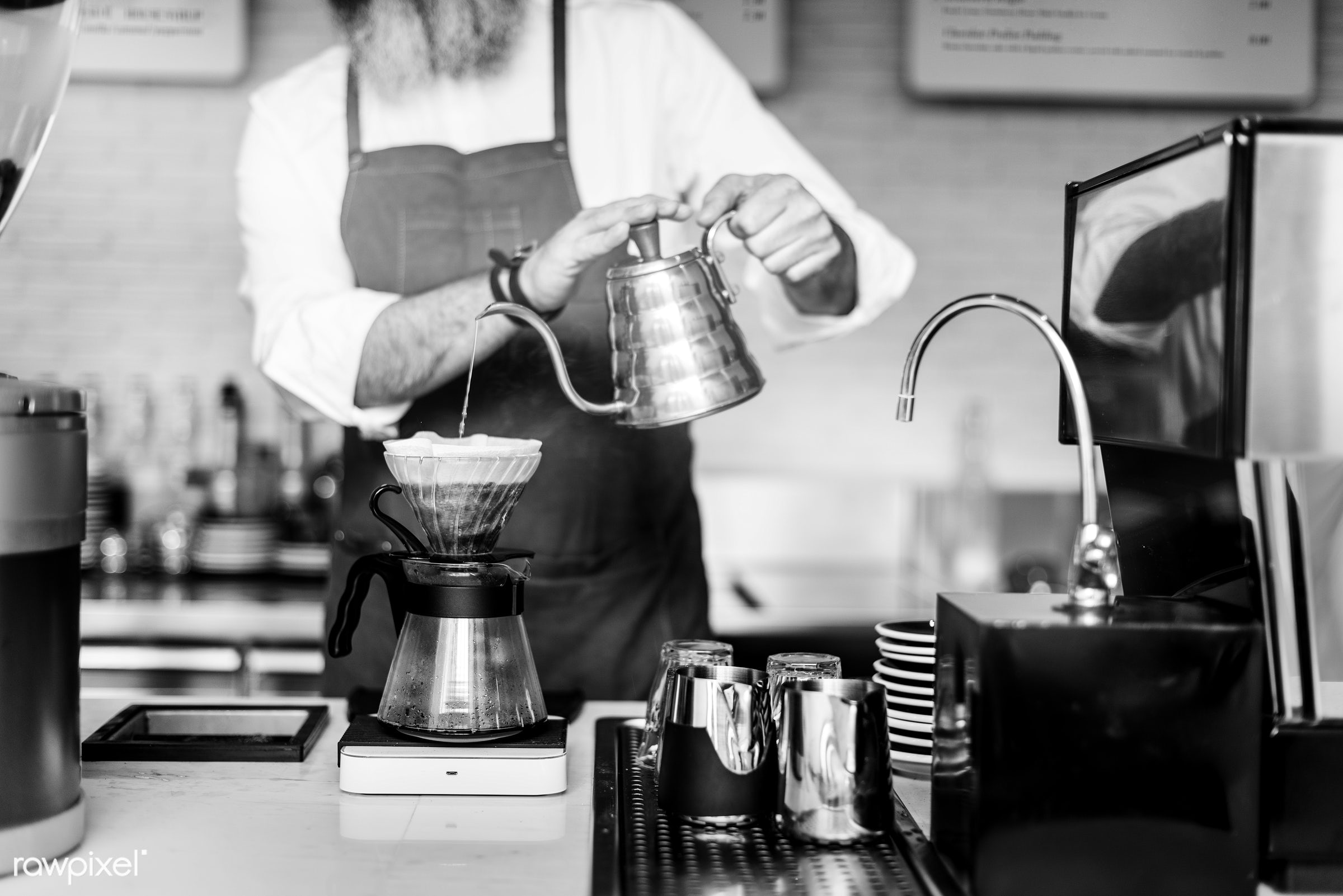 waiter, appliance, apron, attractive, bar, barista, business, cafe, cafeteria, coffee, coffee mill, coffee shop, counter,...