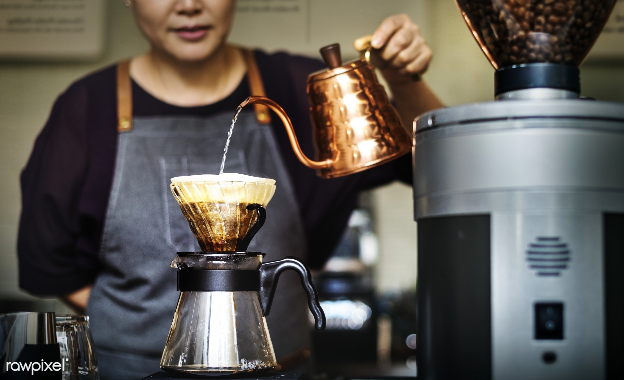 appliance, apron, attractive, bar, barista, brew, business, cafe, cafeteria, coffee, coffee mill, coffee shop, counter, cup...