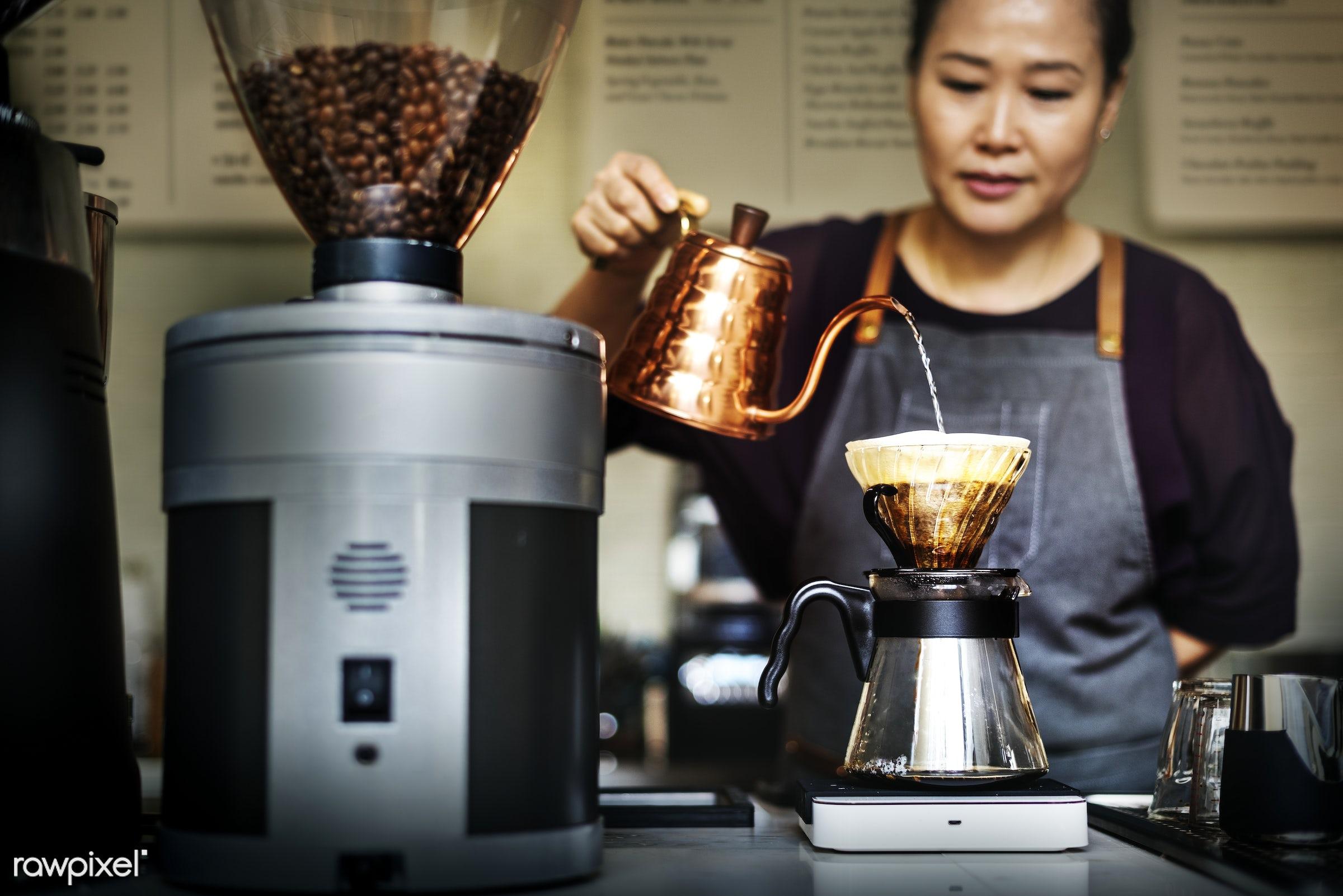 Barista is making coffee - coffee shop, alone, asian, barista, beverage, brew, career, coffee, drink, drip, jug, machine,...