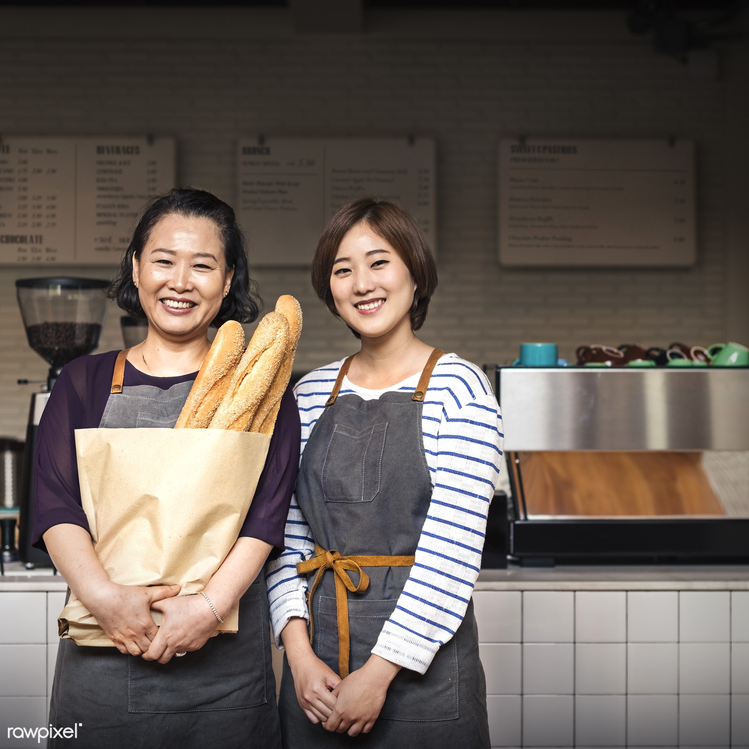 apron, asian ethnicity, bag, baguette, bake, baker, bakery, baking, bistro, bread, cafe, carbohydrates, carbs, coffee shop,...
