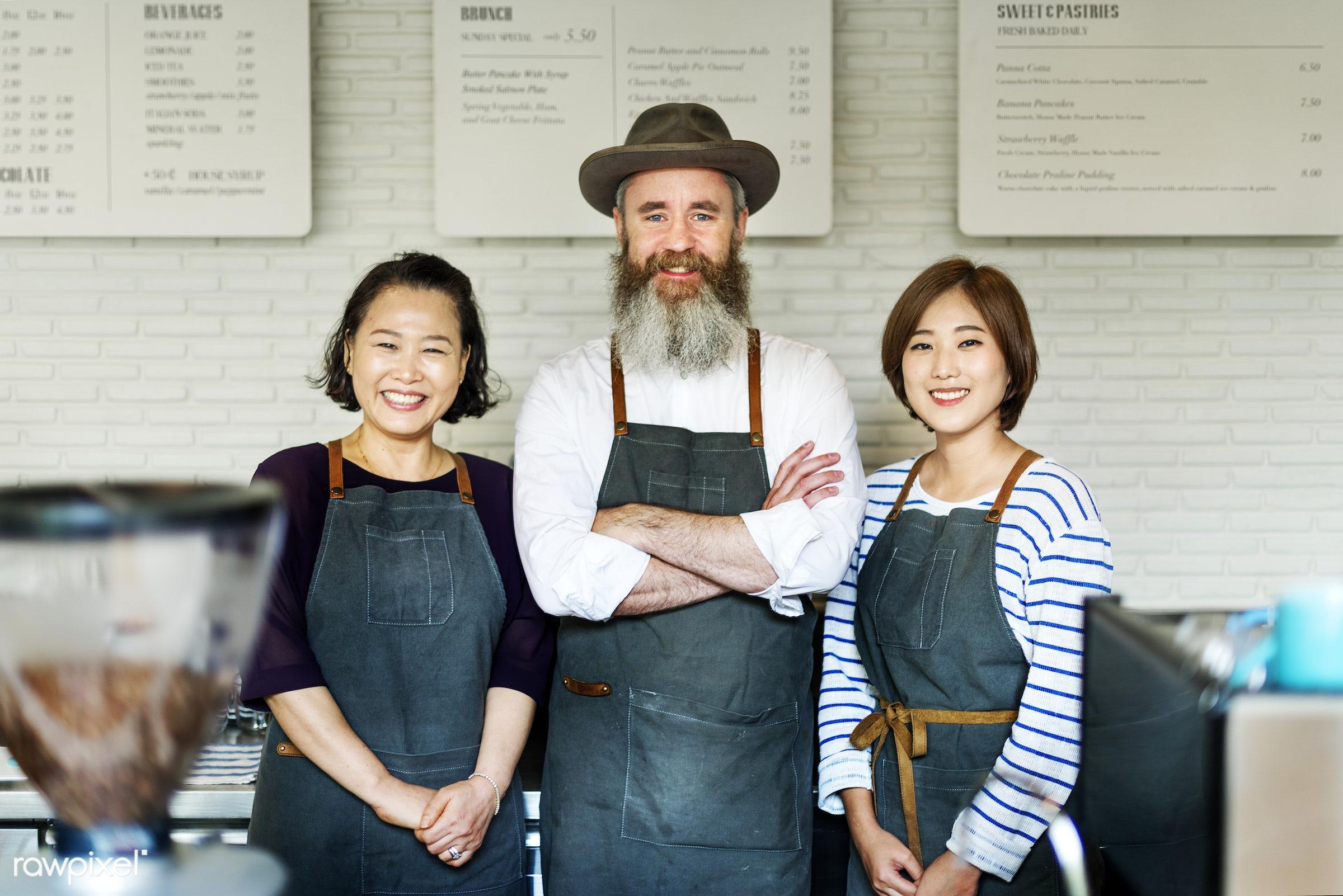 Barista team at coffee shop - apron, asian, barista, beverage, career, cheerful, coffee, coffee shop, friends, friendship,...