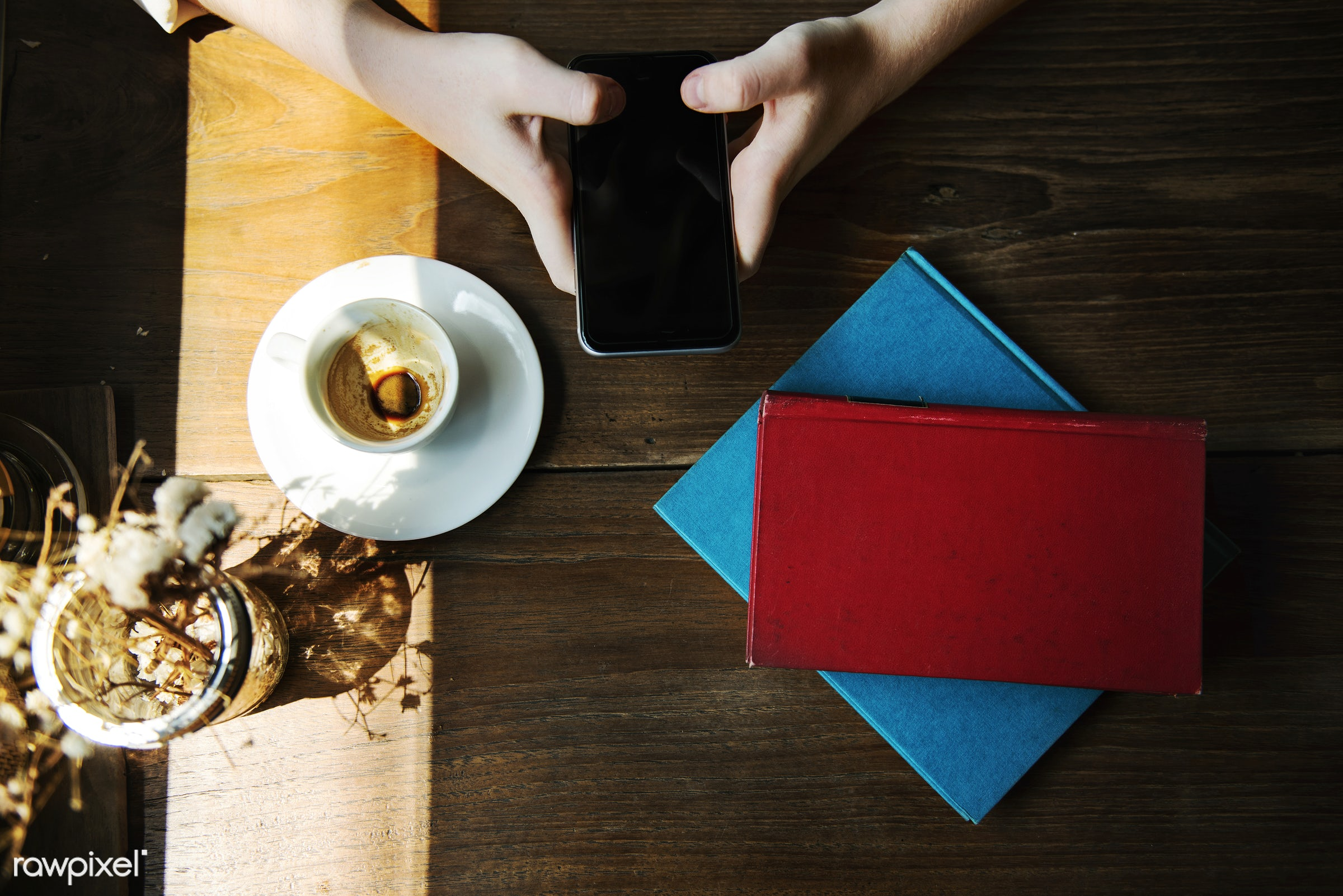 cup, digital device, books, decoration, coffee, hobby, leisure, cafe, smartphone, aerial view, dry flowers, wooden table,...