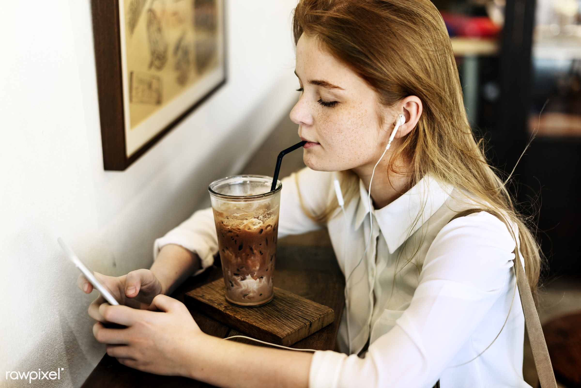 Young caucasian woman at a coffee shop - alone, aroma, beverage, break, cafe, caffeine, caucasian, cheerful, coffee, coffee...