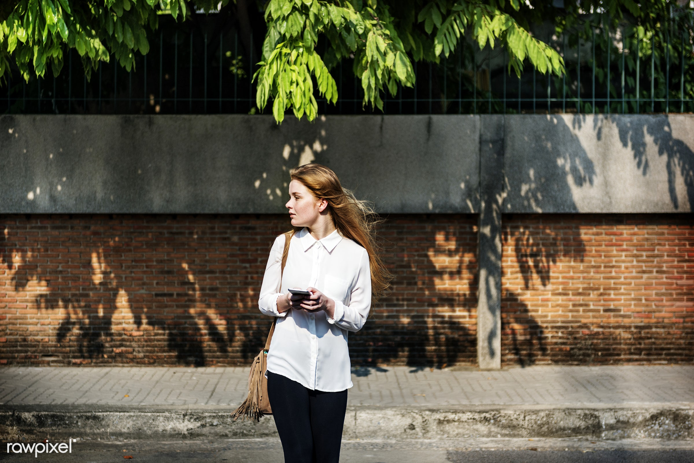 Casual Cheerful Girl Alone Outdoor Recreation Concept - alone, caucasian, cellphone, cheerful, communication, connection,...