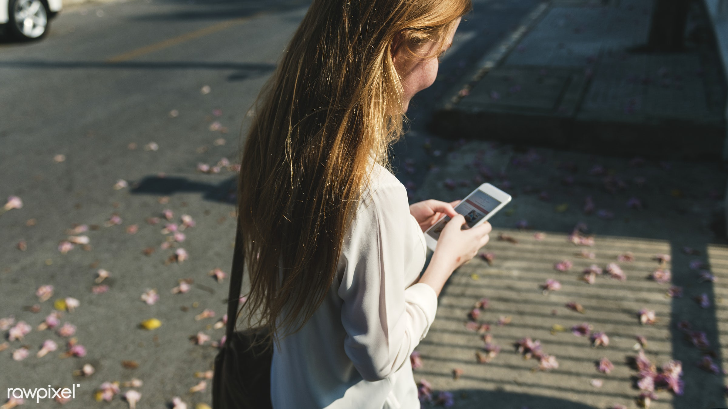 Girl Browsing Phone Connection Concept - alone, caucasian, cellphone, cheerful, communication, connection, device, digital,...