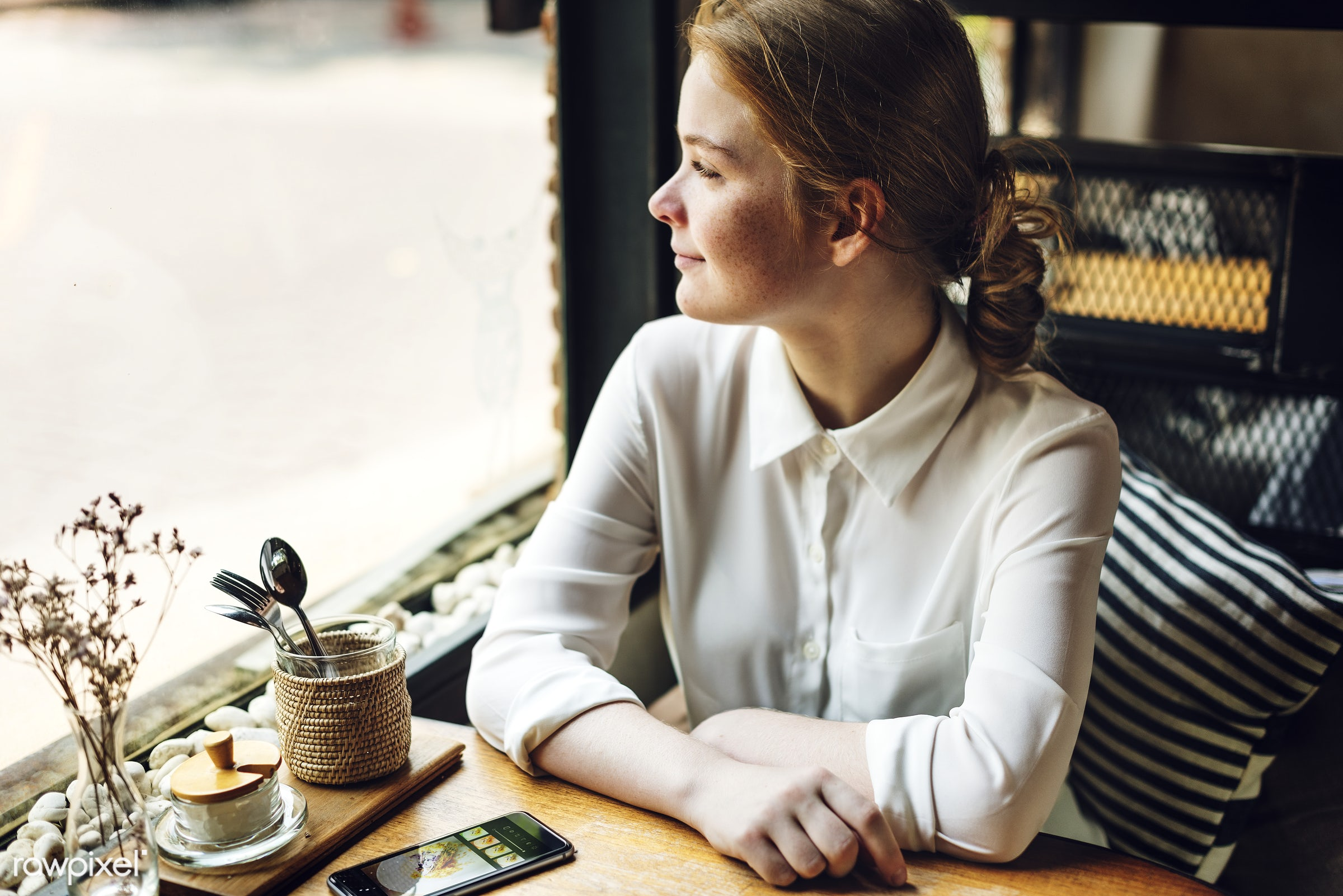Young caucasian woman at a coffee shop - woman, morning, coffee, restaurant, coffee shop, technology, girl, alone, aroma,...