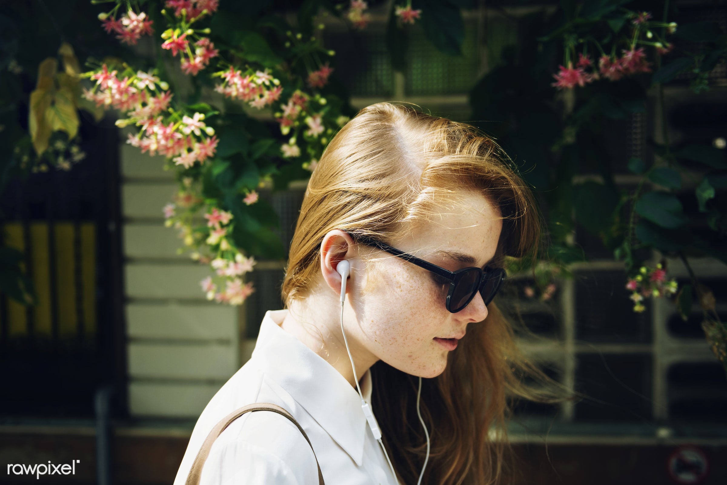 Summer Listening Chilling Connection Audio Concept - girl, relax, woman, face, alone, cheerful, closeup, earphones,...
