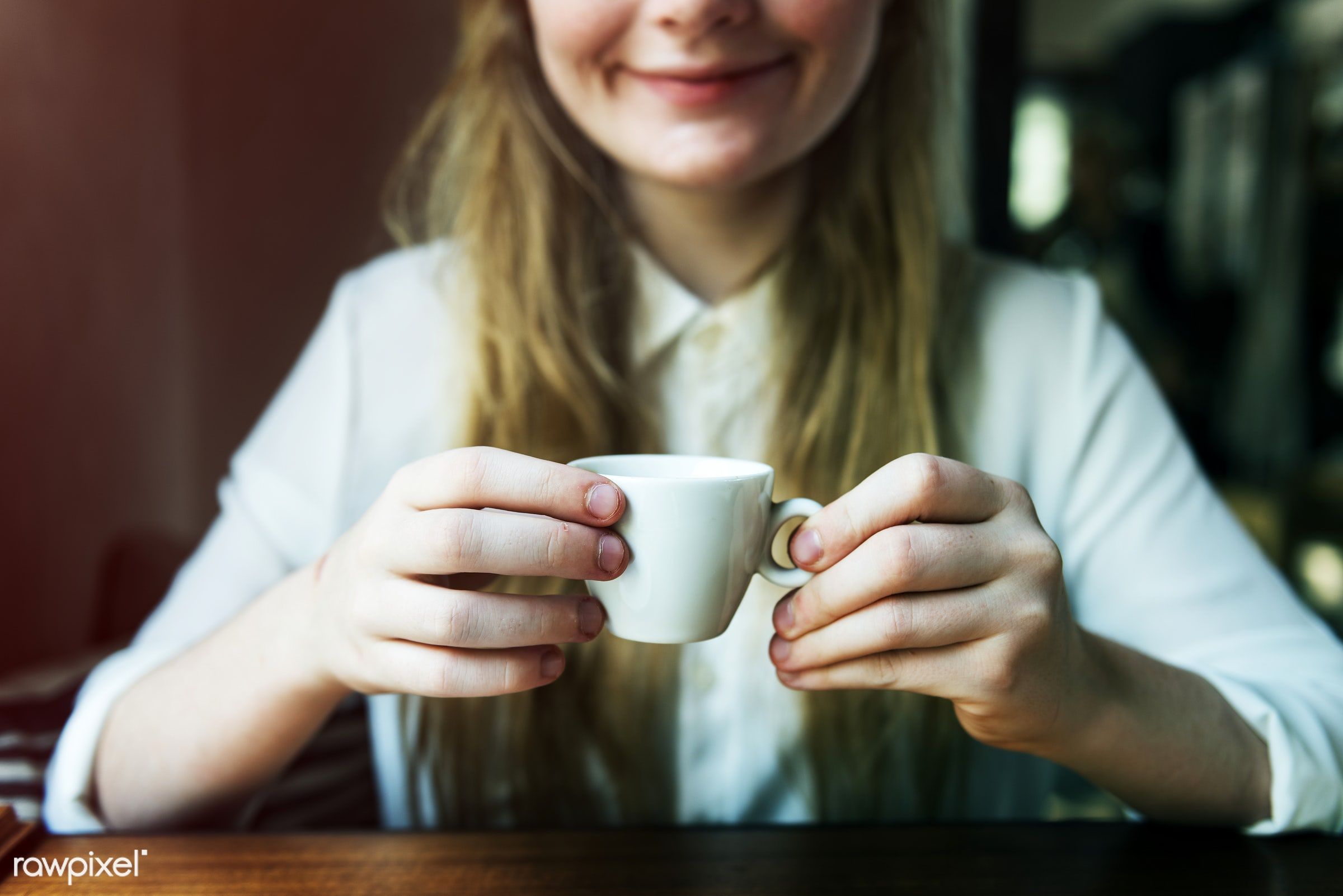 Young caucasian woman at a coffee shop - alone, aroma, beverage, break, cafe, caffeine, cheerful, coffee, coffee break,...