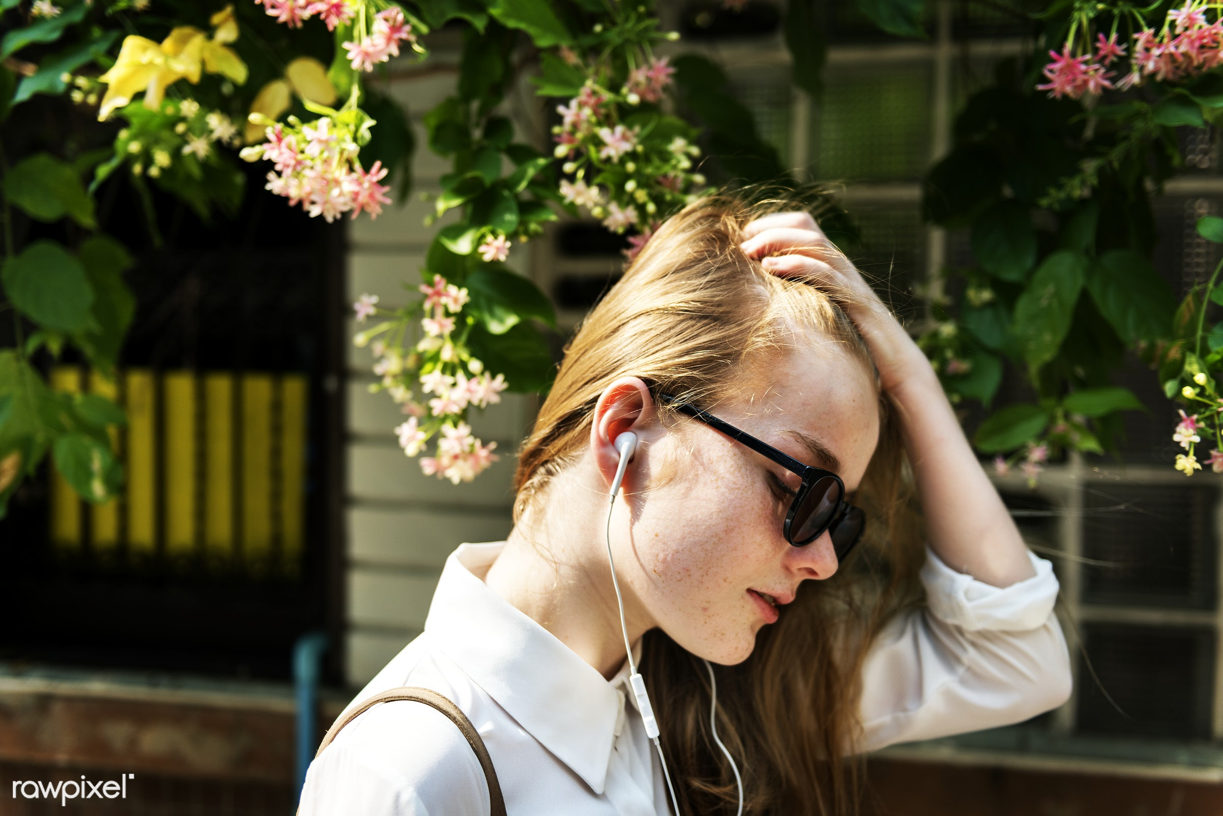 Summer Listening Chilling Connection Audio Concept - listen, young, alone, cheerful, closeup, earphones, entertainment,...