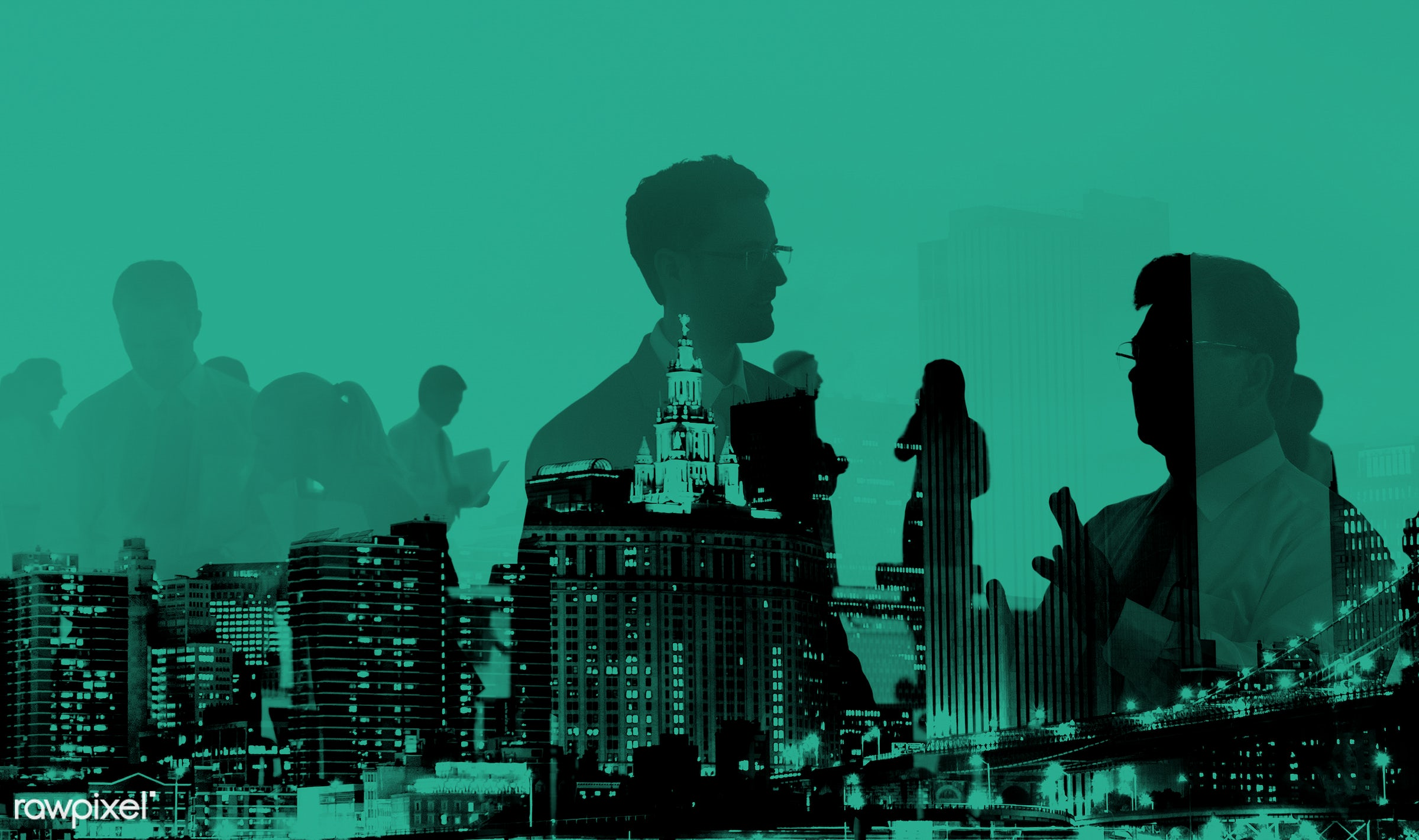 discussion, silhouette, people, business, city, buildings, conference, abstract, communication, green, team, colleagues,...