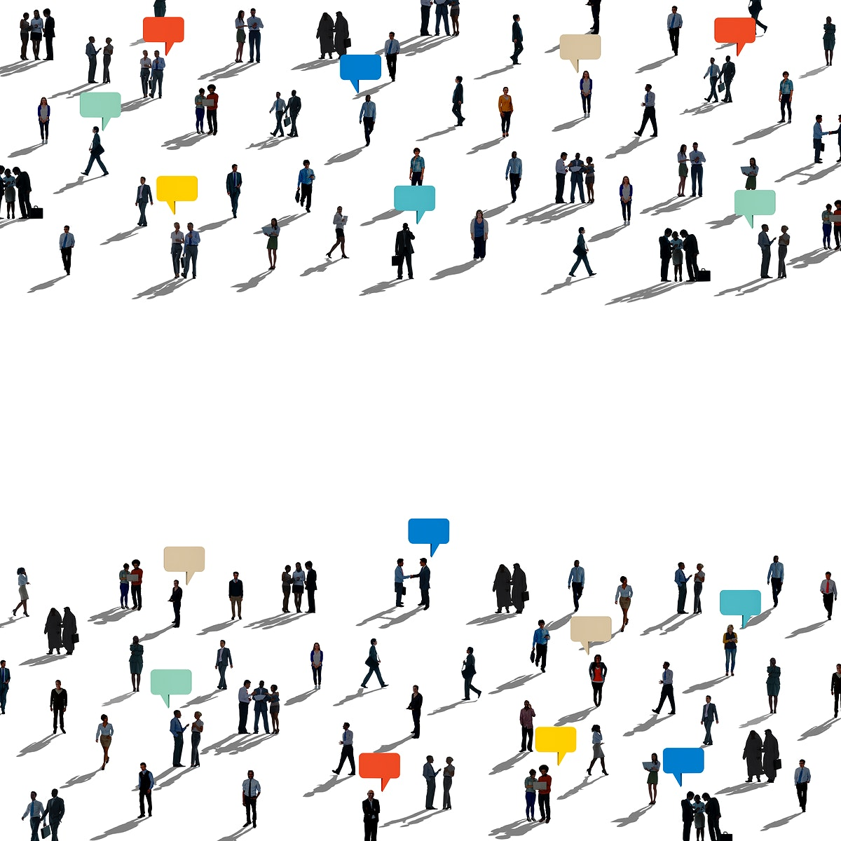 Diverse people silhouette communication connection