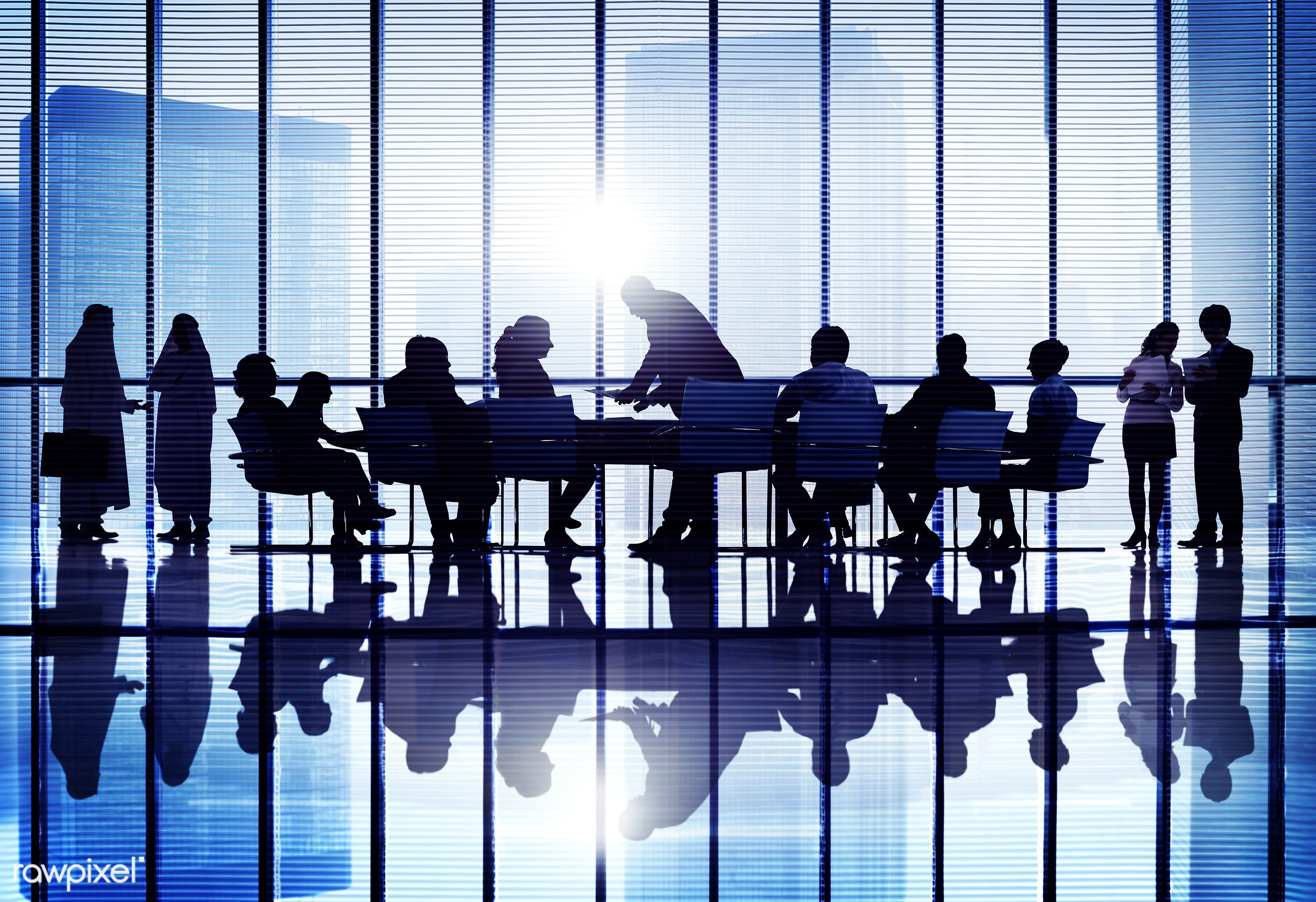 Business people in a board room meeting - corporate, backlit, board room, business, business people, businessmen,...