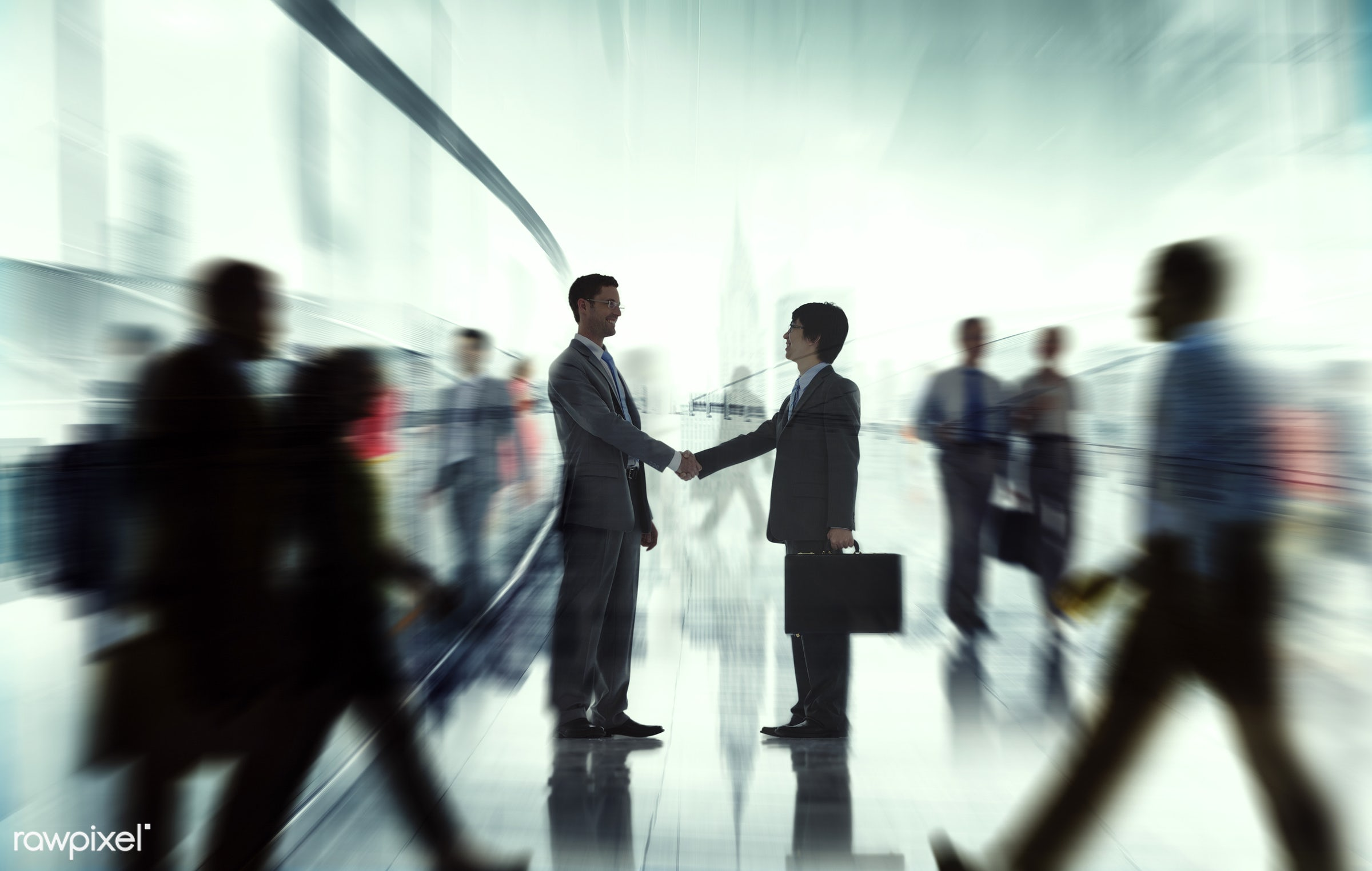 abstract, back lit, blurred motion, building, business, business people, businessmen, businesswomen, busy, city life,...
