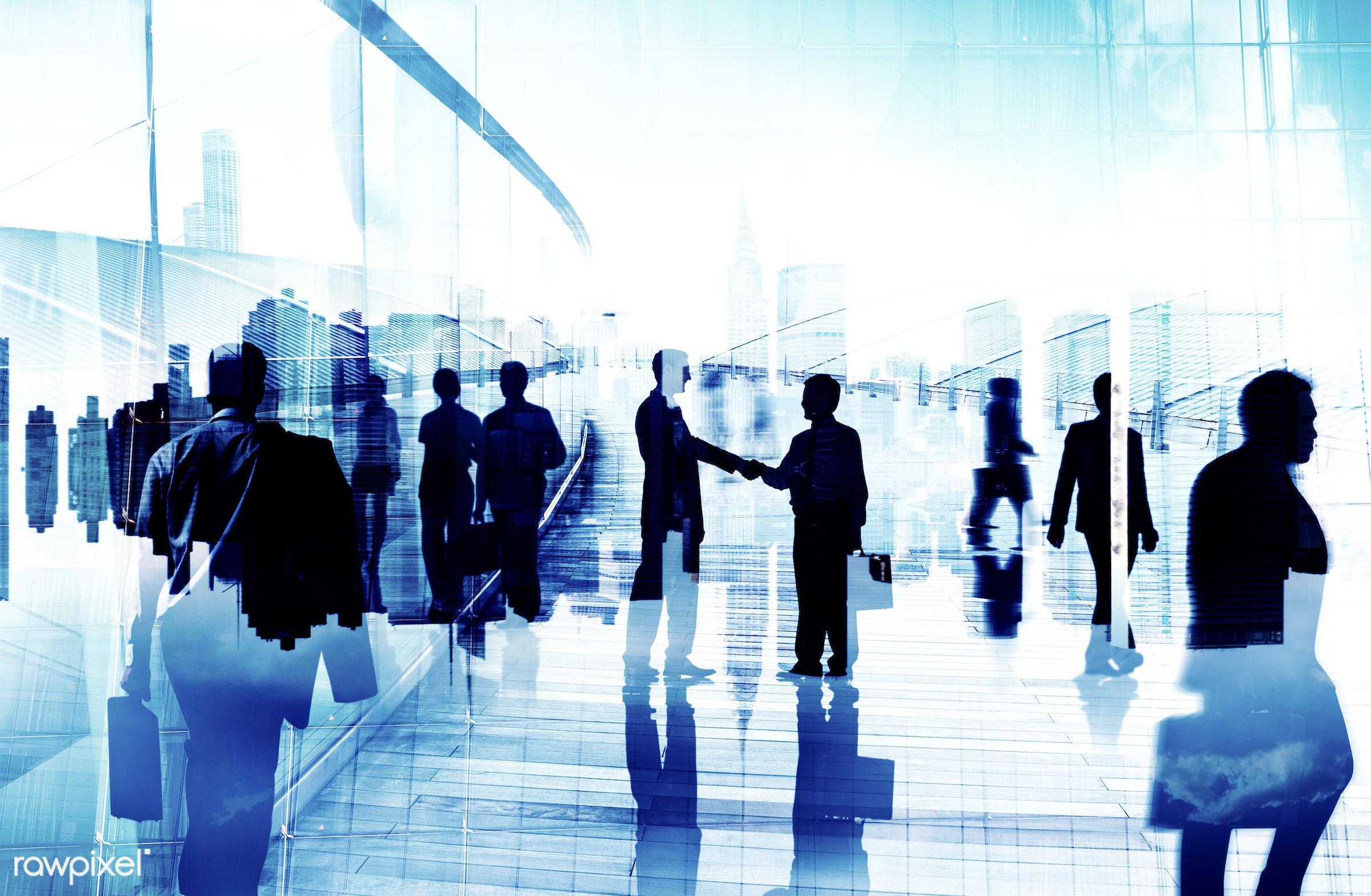 agreement, back lit, building, business, business people, businessmen, businesswomen, city, cityscape, collaboration,...
