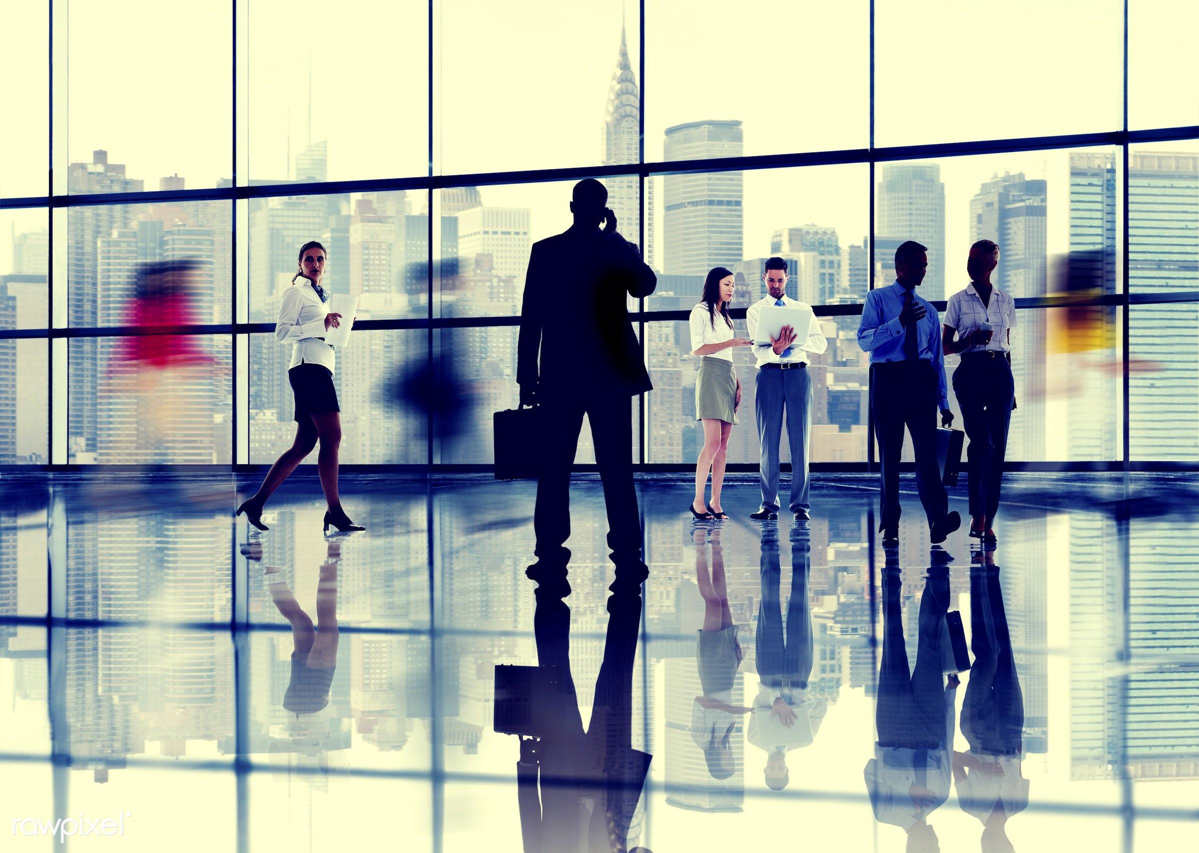 back lit, blurred motion, brainstorming, buildings, business, business people, businessmen, businesswomen, city, cityscape,...