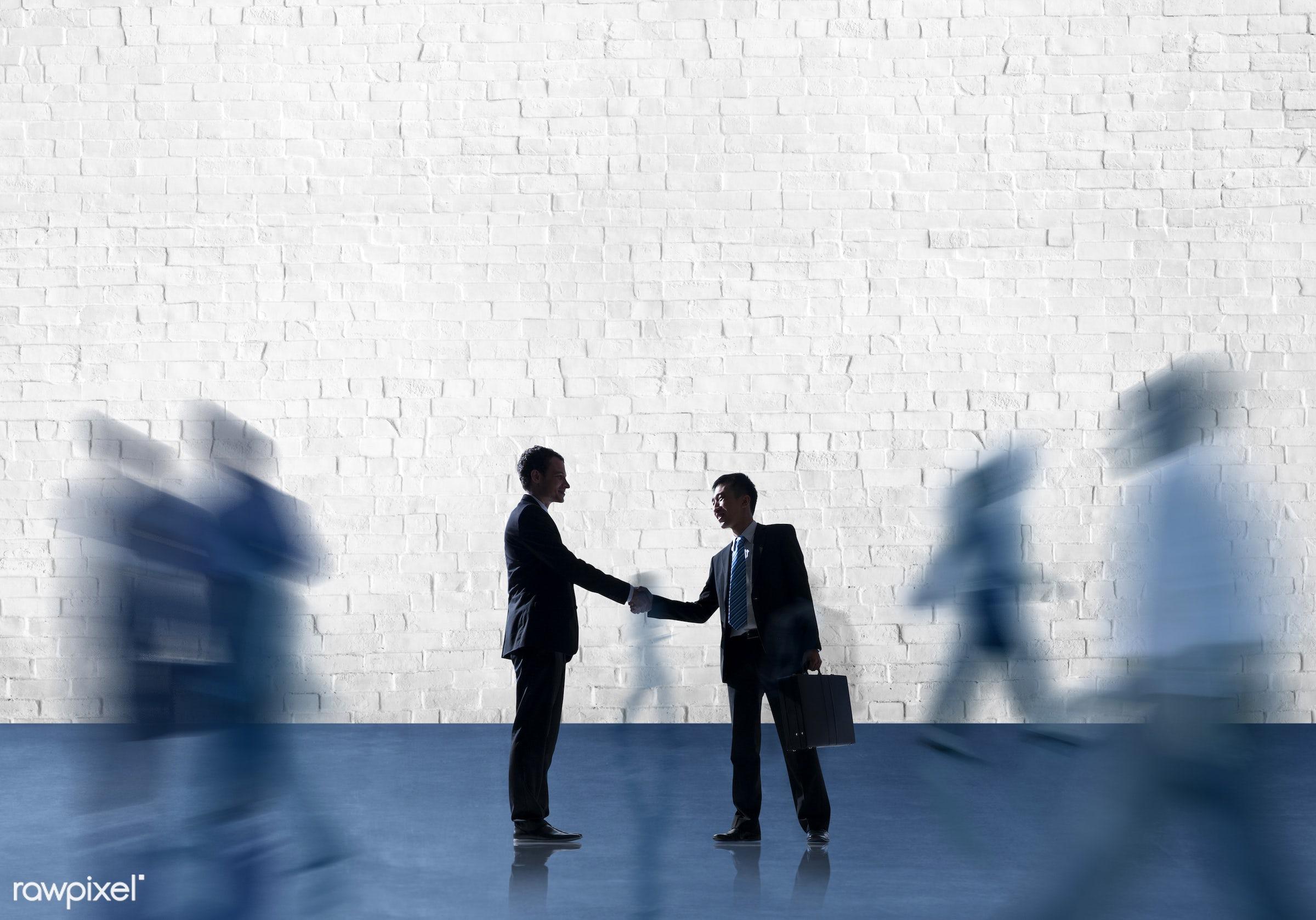 agreement, blank, brick, brick wall, business, business people, businessmen, businesswomen, collaboration, colleague,...