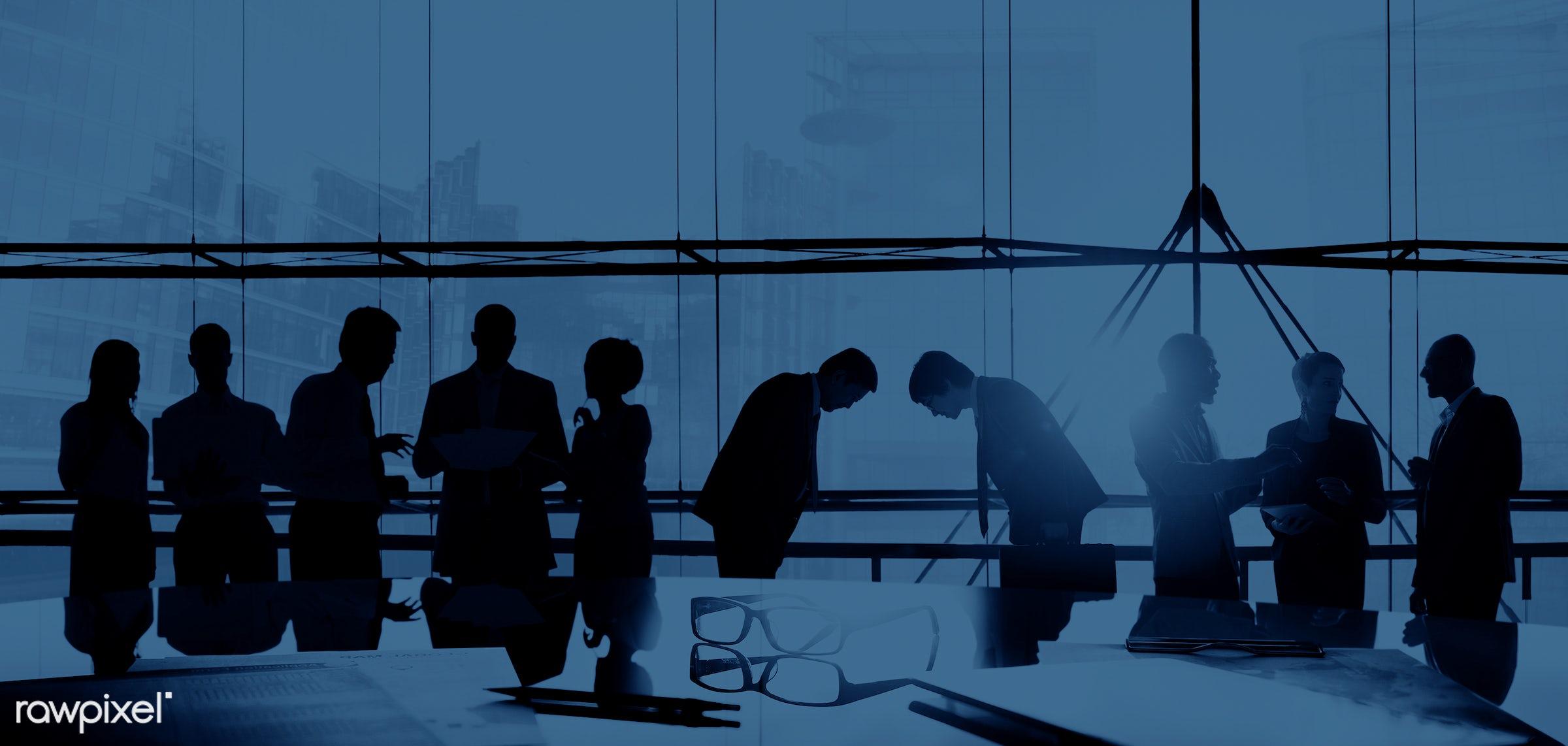 african descent, asian ethnicity, back lit, blue, boardroom, bowing, brainstorming, building, business, business people,...