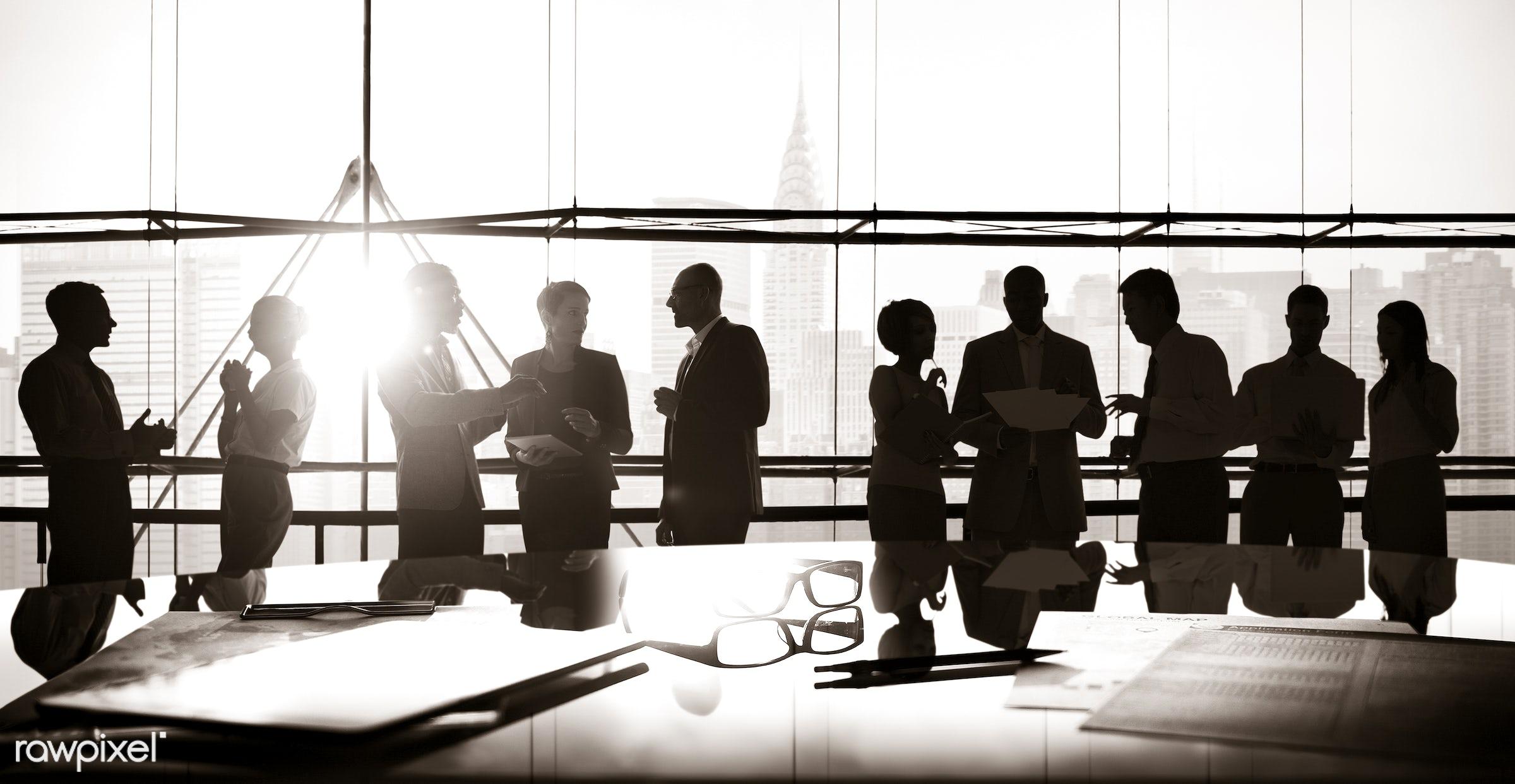 backlit, board room, brainstorming, buildings, business, businessmen, businesswomen, city, colleagues, communication,...