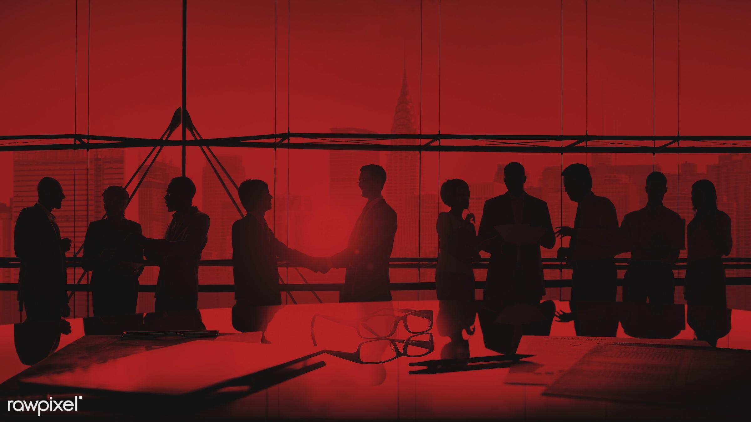 agreement, backlit, board room, brainstorming, buildings, business, businessmen, businesswomen, city, collaboration,...