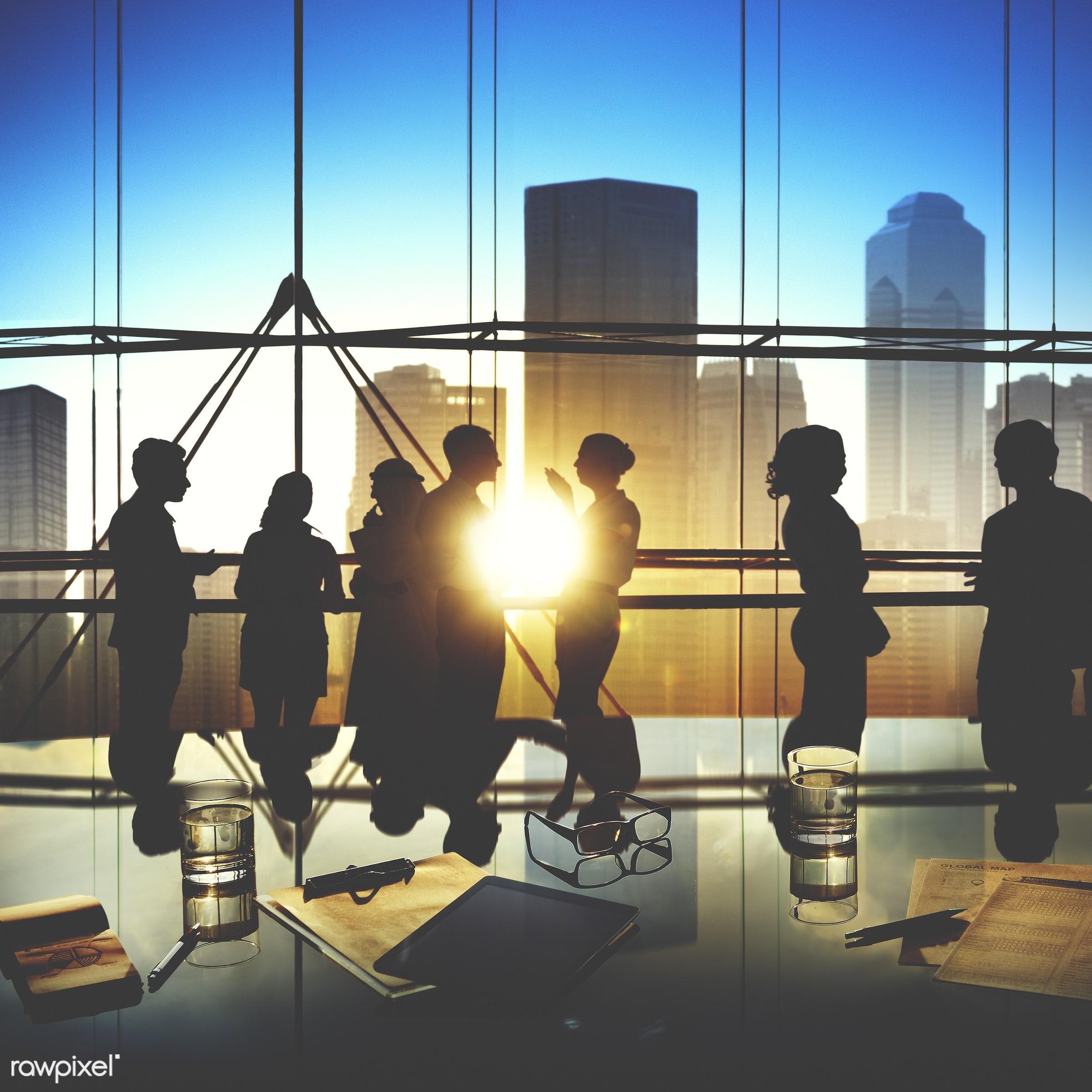 african descent, asian ethnicity, back lit, boardroom, brainstorming, building, business, business people, businessmen,...