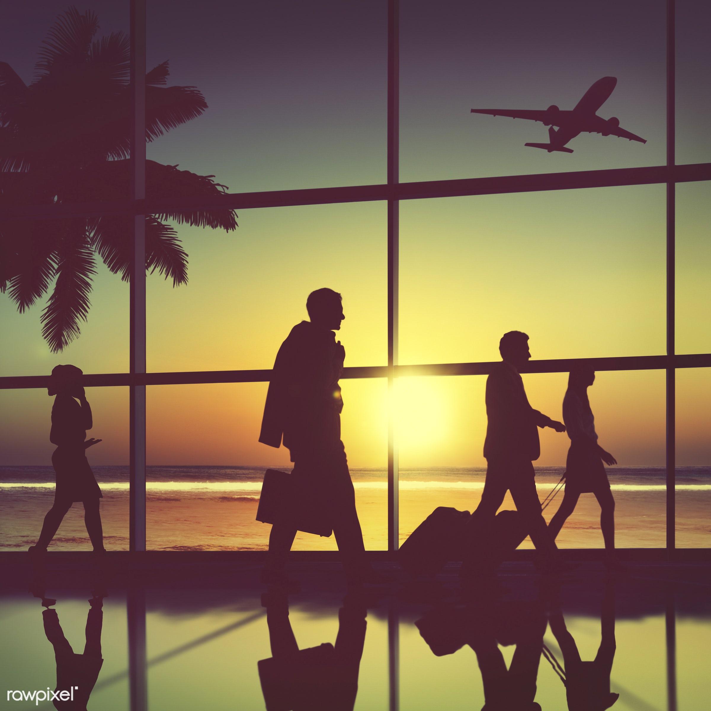 airplane, airport, back lit, business people, business travel, businessmen, businesswomen, communication, commuter,...