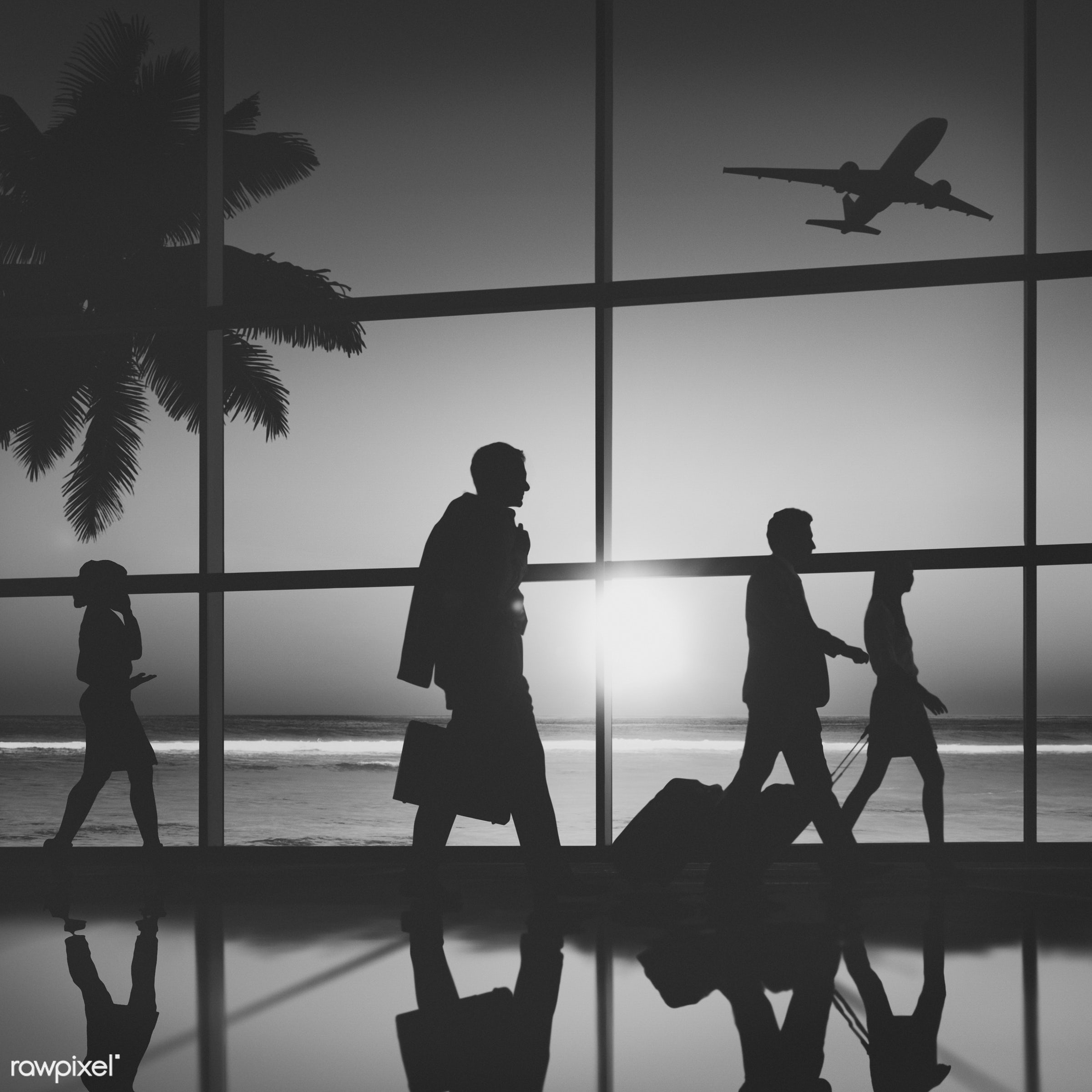 aircraft, airplane, airport, arrival, back lit, beach, business, business people, business travel, businessmen,...