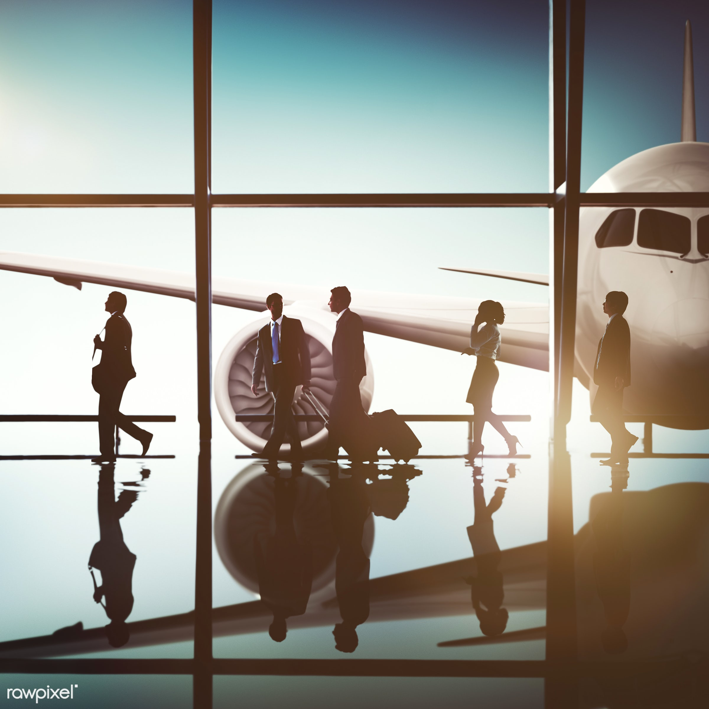airplane, airport, back lit, business people, business travel, business trip, businessmen, businesswomen, colleagues,...