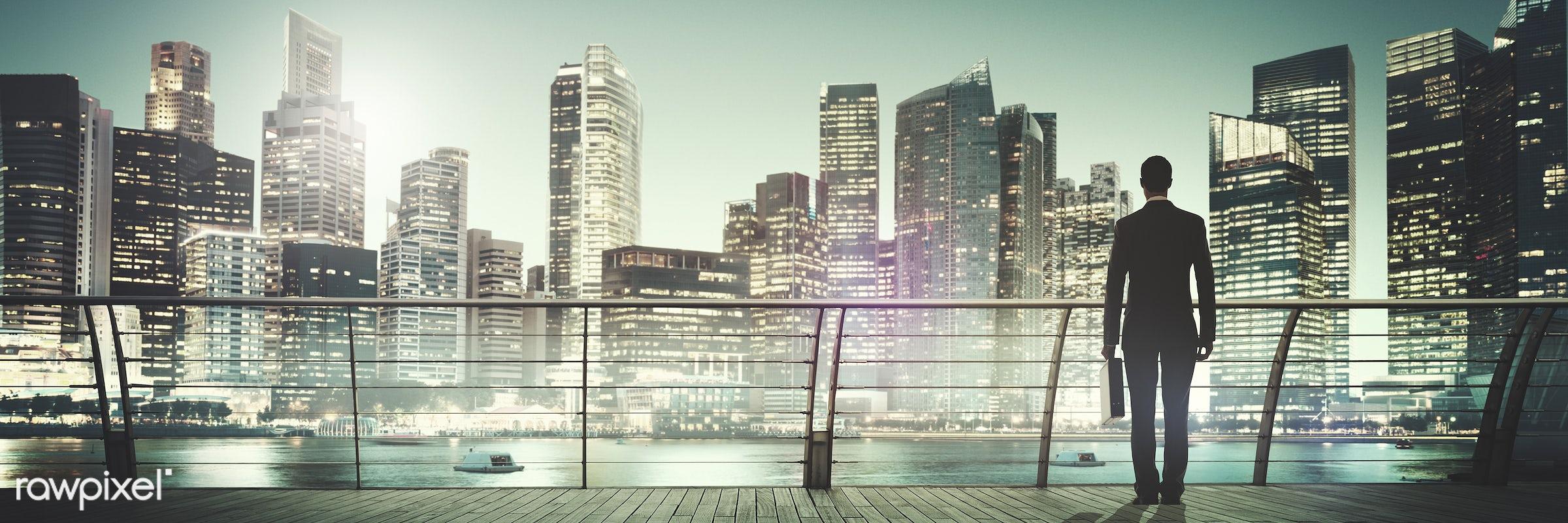 contemporary, building, business, businessman, city, city lights, cityscape, contemplation, corporate, harbour, looking, man...