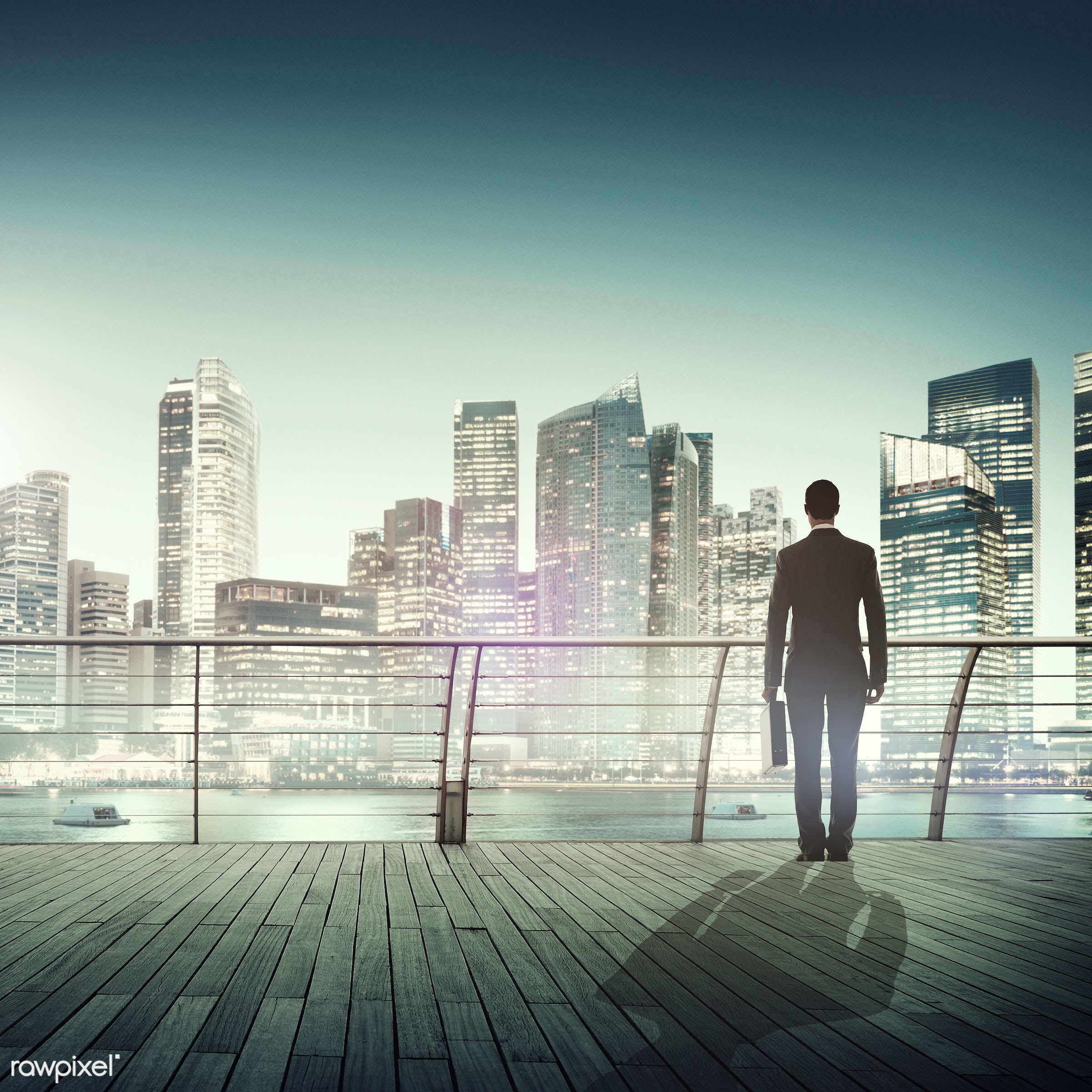 contemporary, building, business, businessman, city, city lights, cityscape, contemplation, corporate, harbour, looking, man...