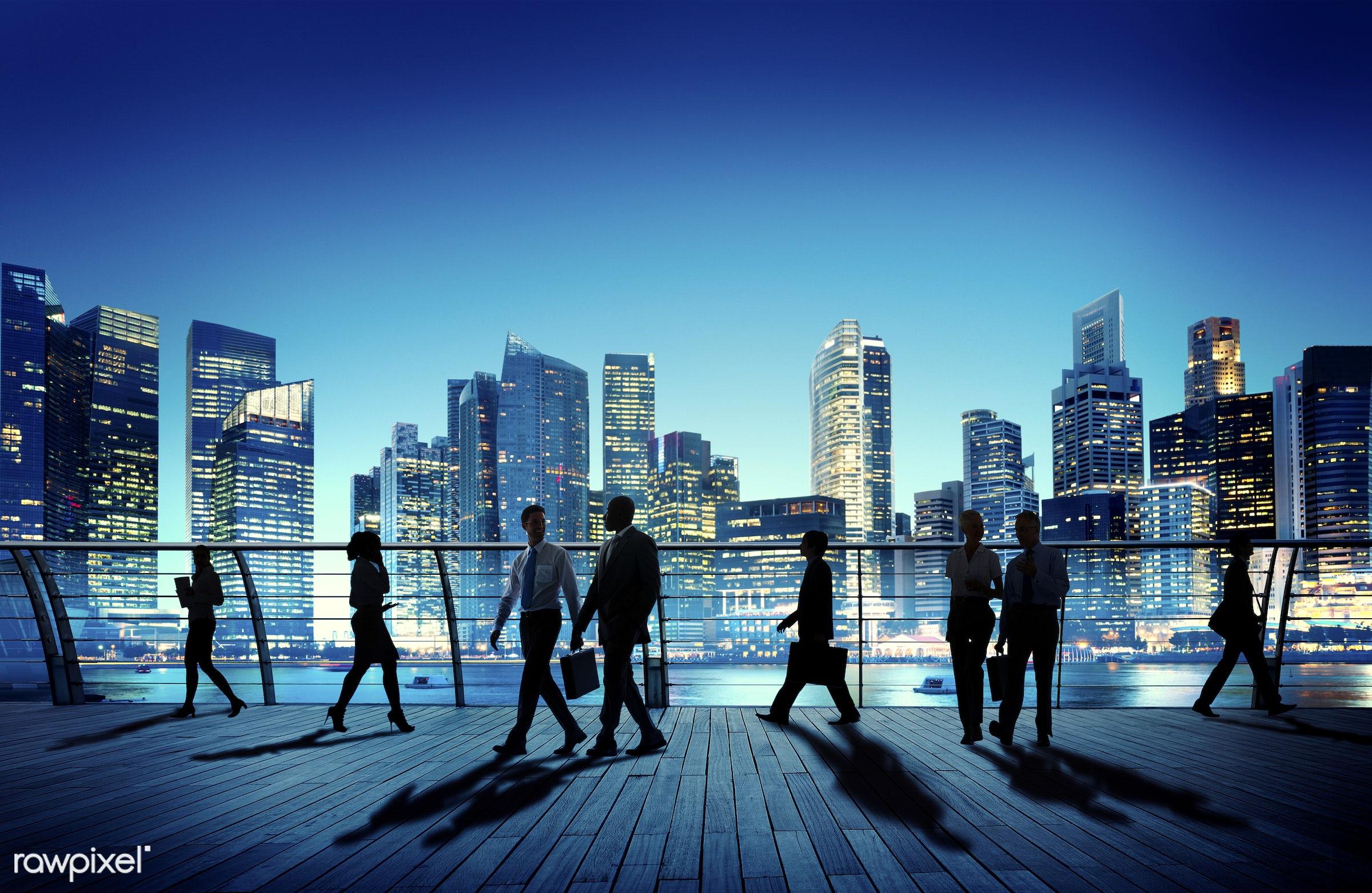 back lit, bay, building, business, business people, businessmen, businesswomen, city, city lights, cityscape, colleagues,...