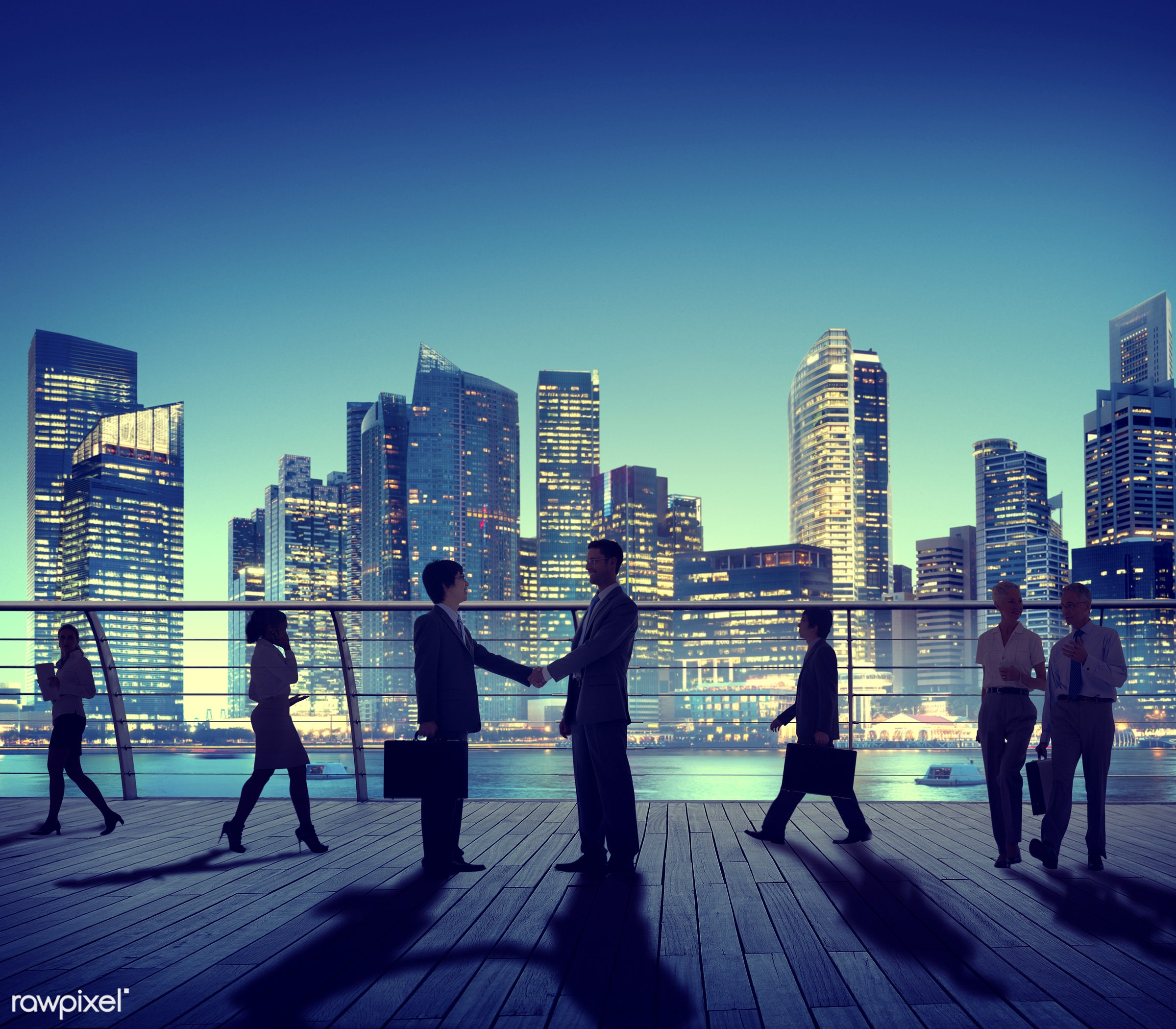 agreement, back lit, building, business, business people, businessmen, businesswomen, city, city lights, cityscape,...