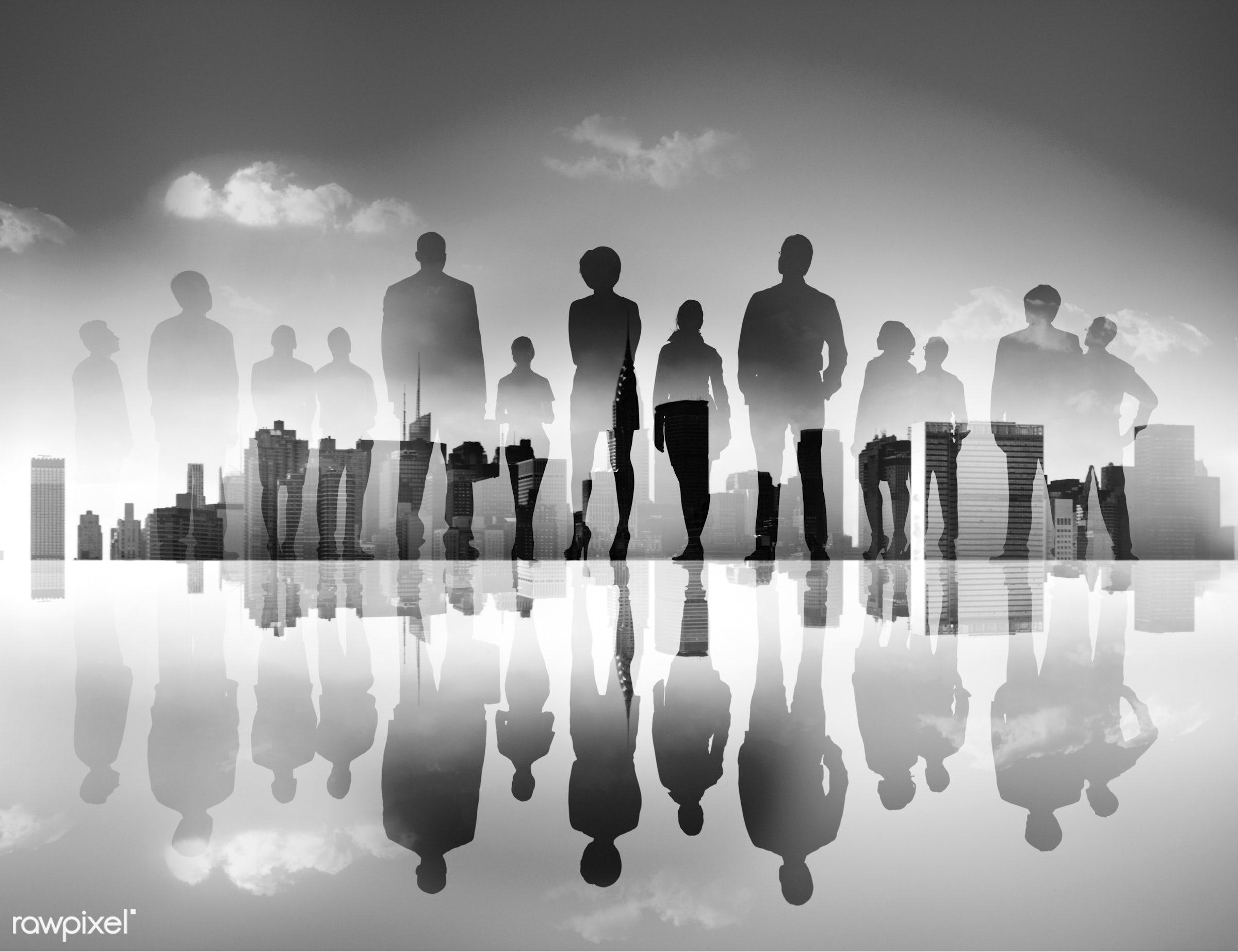 reflection, back lit, building, business, business people, businessmen, businesswomen, city, city life, cityscape, colleague...