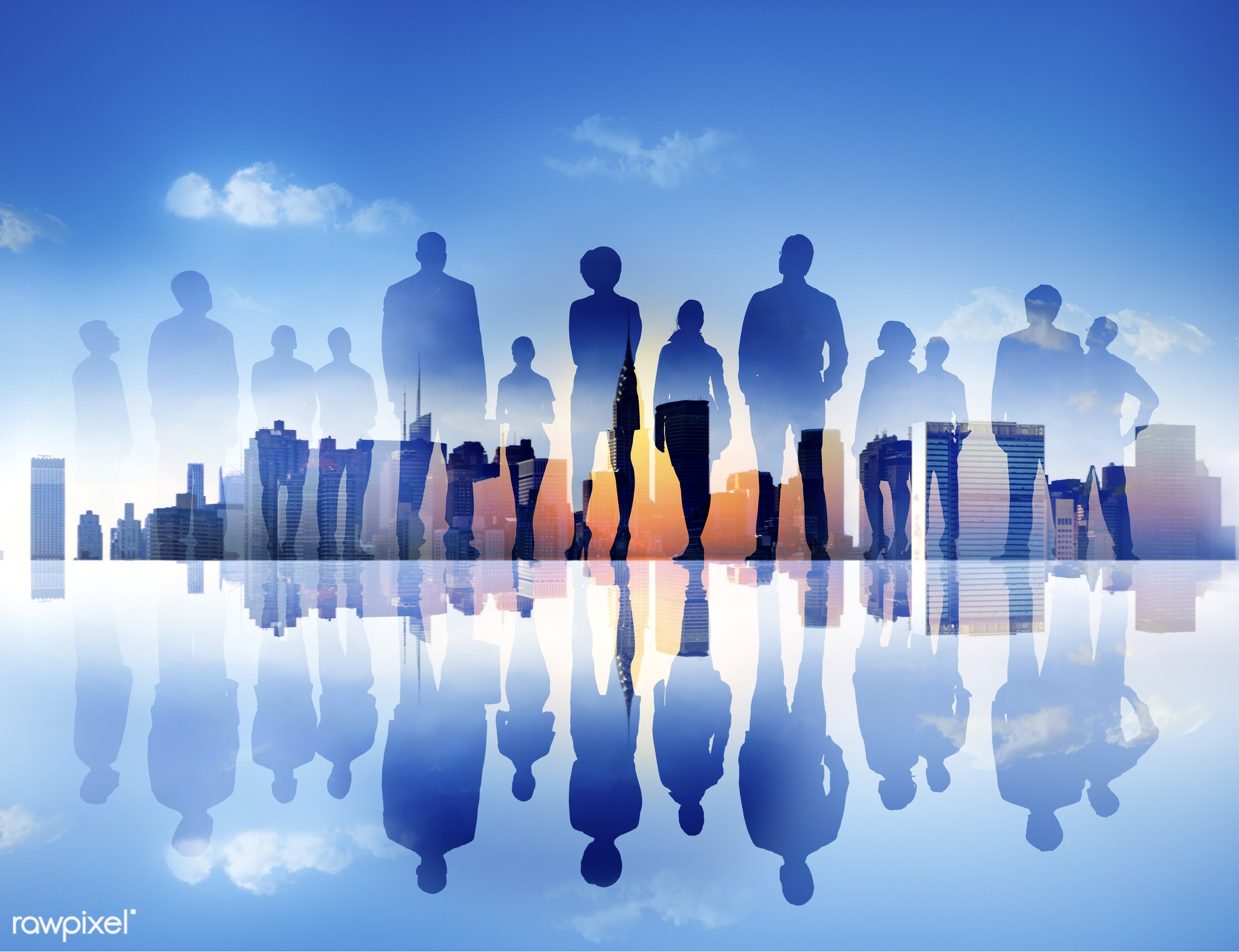 Large group of business people - back lit, building, business, business people, businessmen, businesswomen, city, city life...