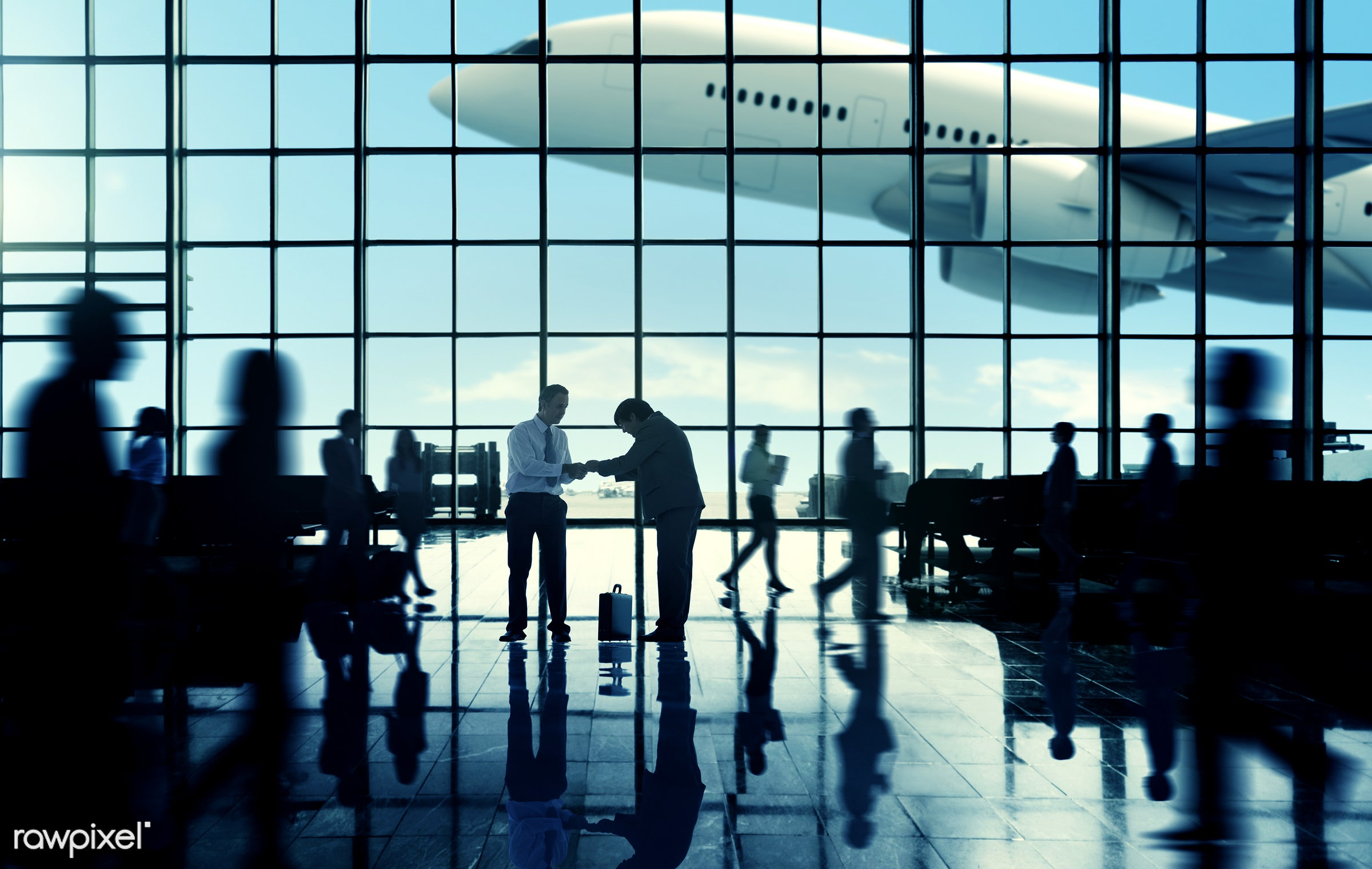 agreement, airplane, airport, airport lounge, baggage, briefcase, business, business people, business travel, businessmen,...