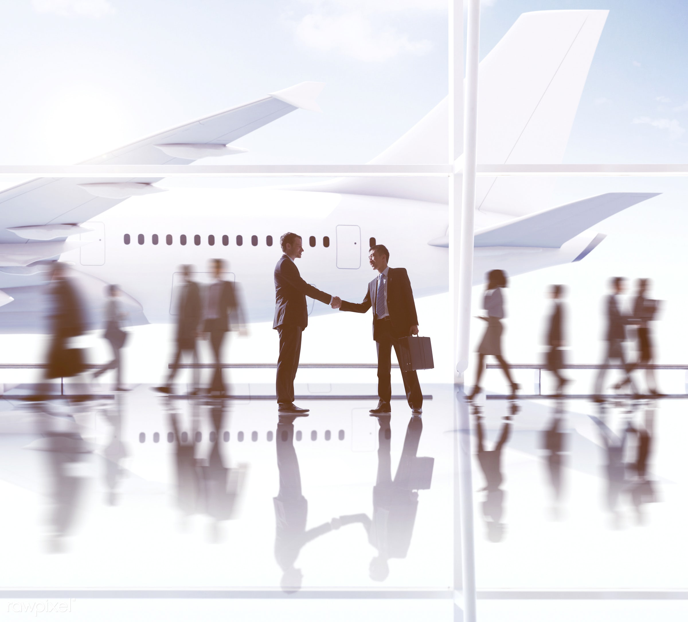 3d, agreement, aircraft, airplane, airport, arrival, back lit, business, business people, business travel, businessmen,...