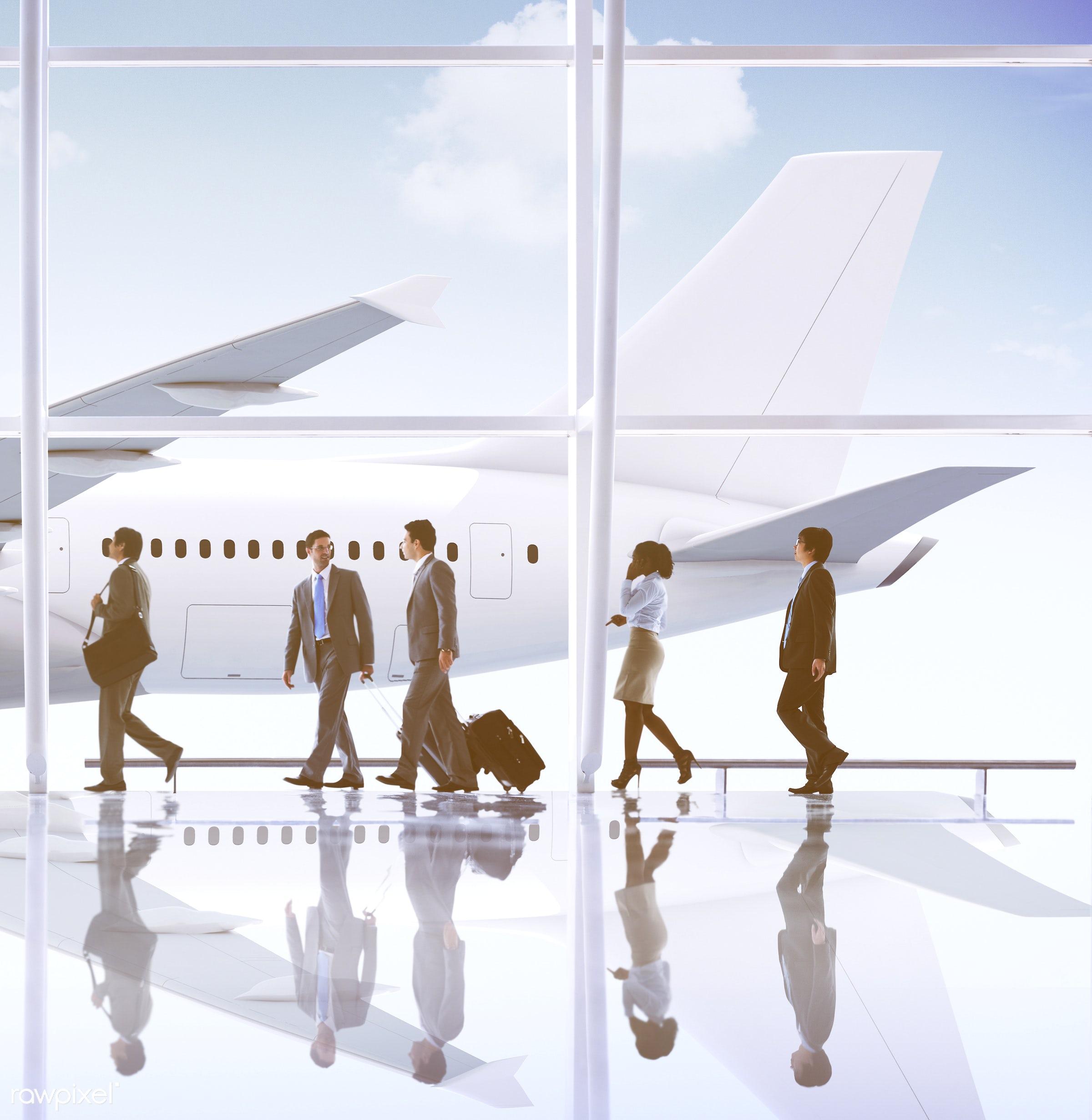 3d, aircraft, airplane, airport, arrival, back lit, business, business people, business travel, businessmen, businesswomen,...