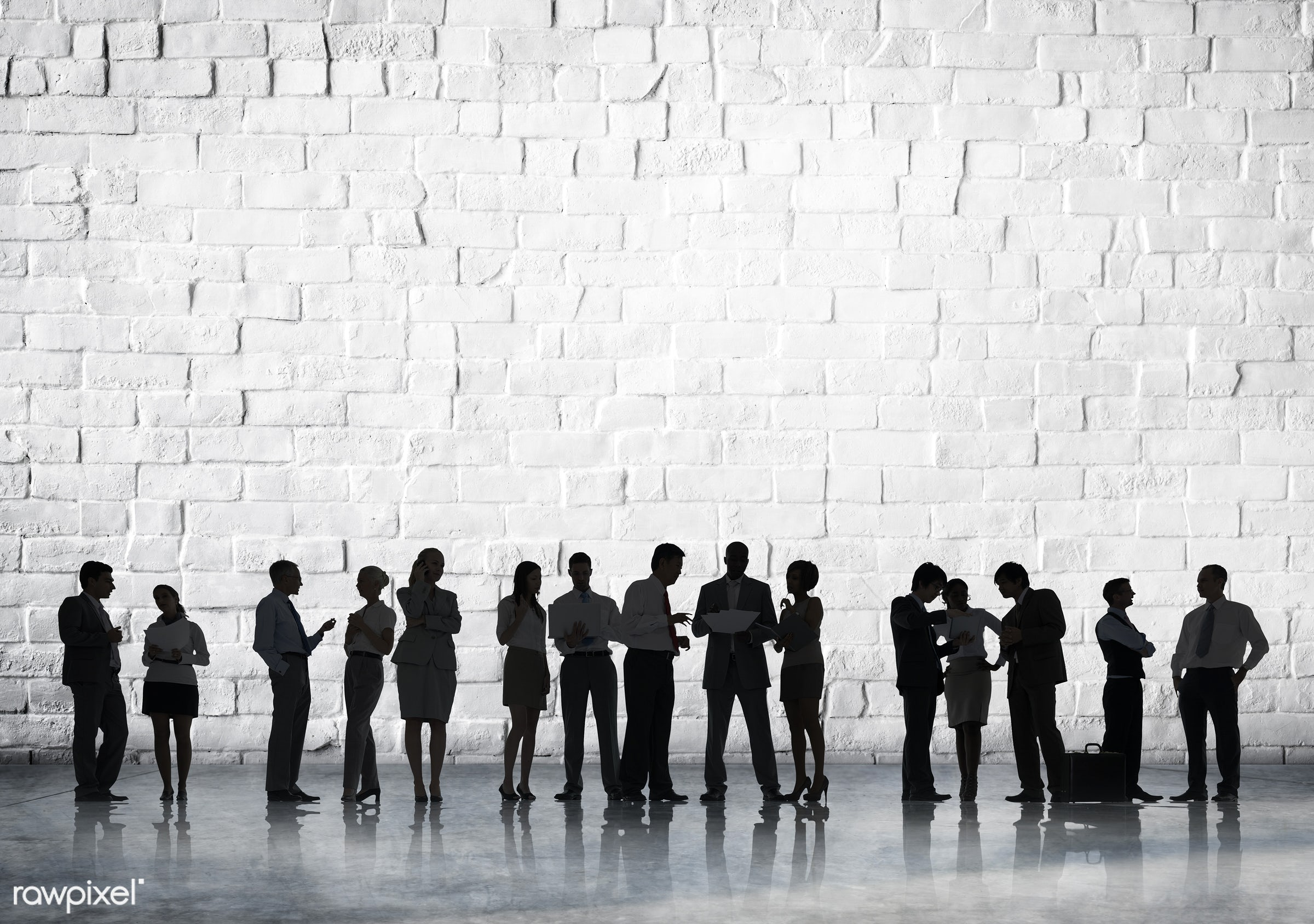 blank, brick, brick wall, business, business people, businessmen, businesswomen, collaboration, colleagues, communication,...