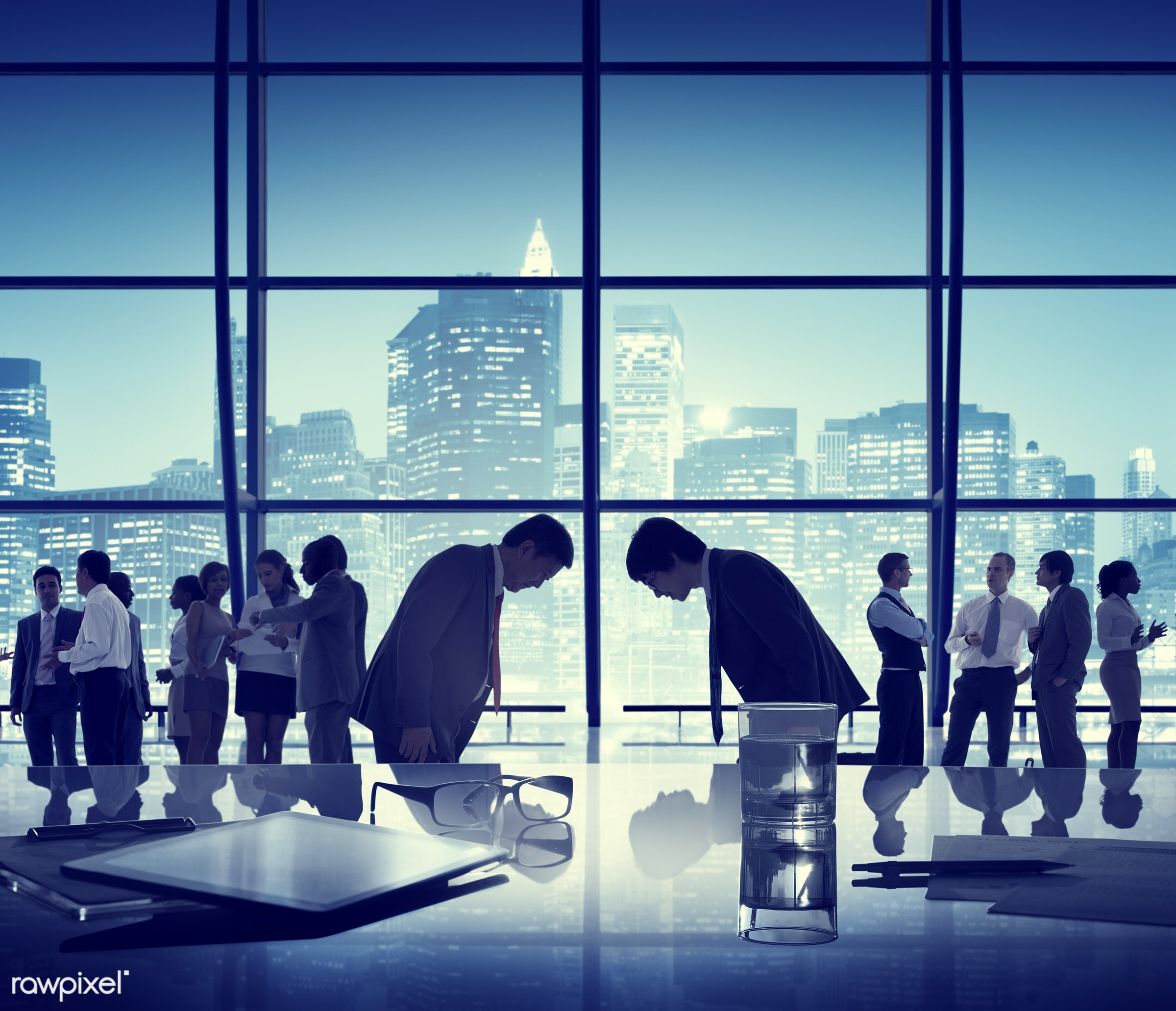 japanese ethnicity, agreement, asian, asian ethnicity, blue, bowing, building, business, business people, businessmen,...