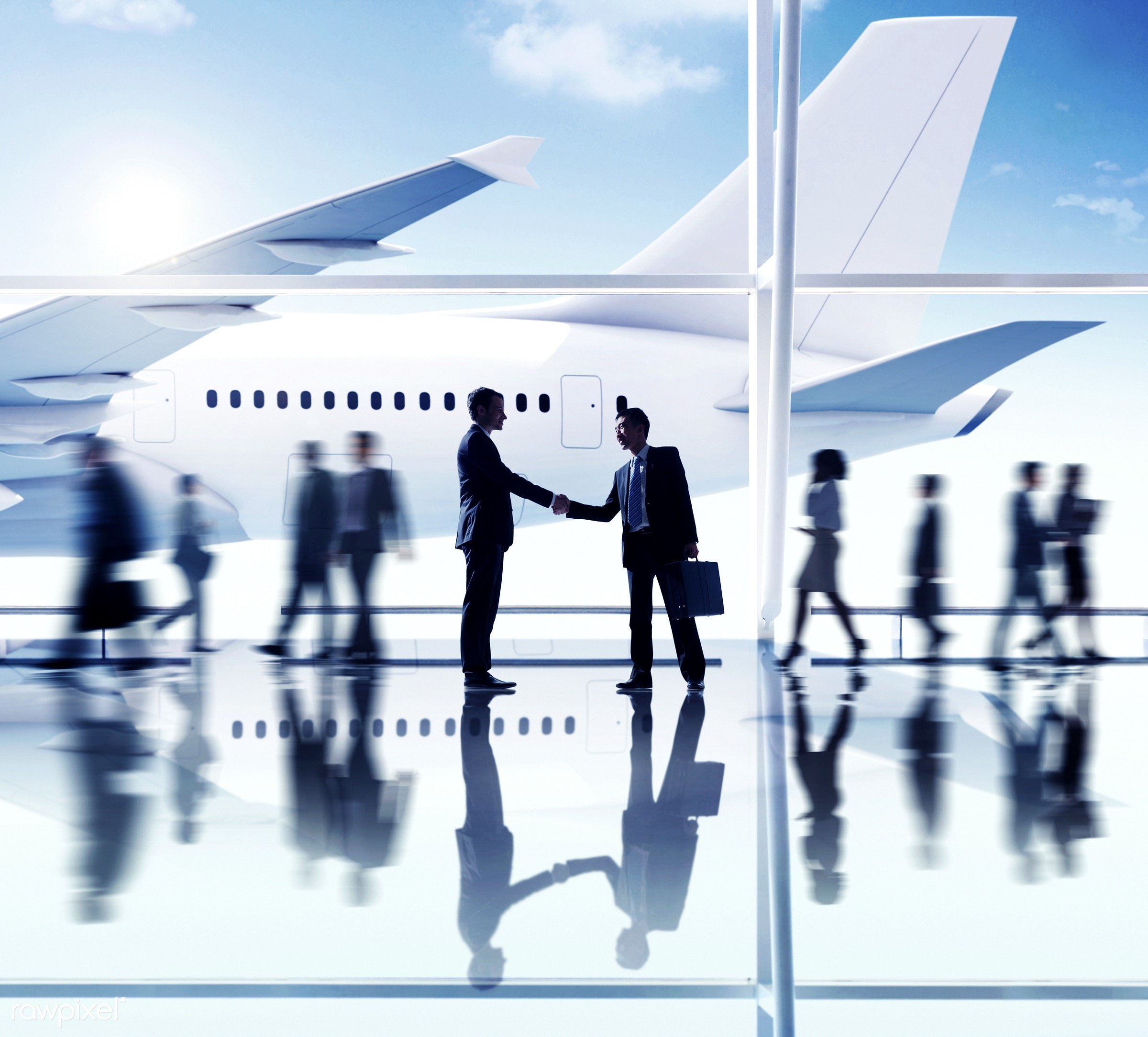 agreement, airplane, airport, business people, business travel, businessmen, businesswomen, cheerful, communication,...