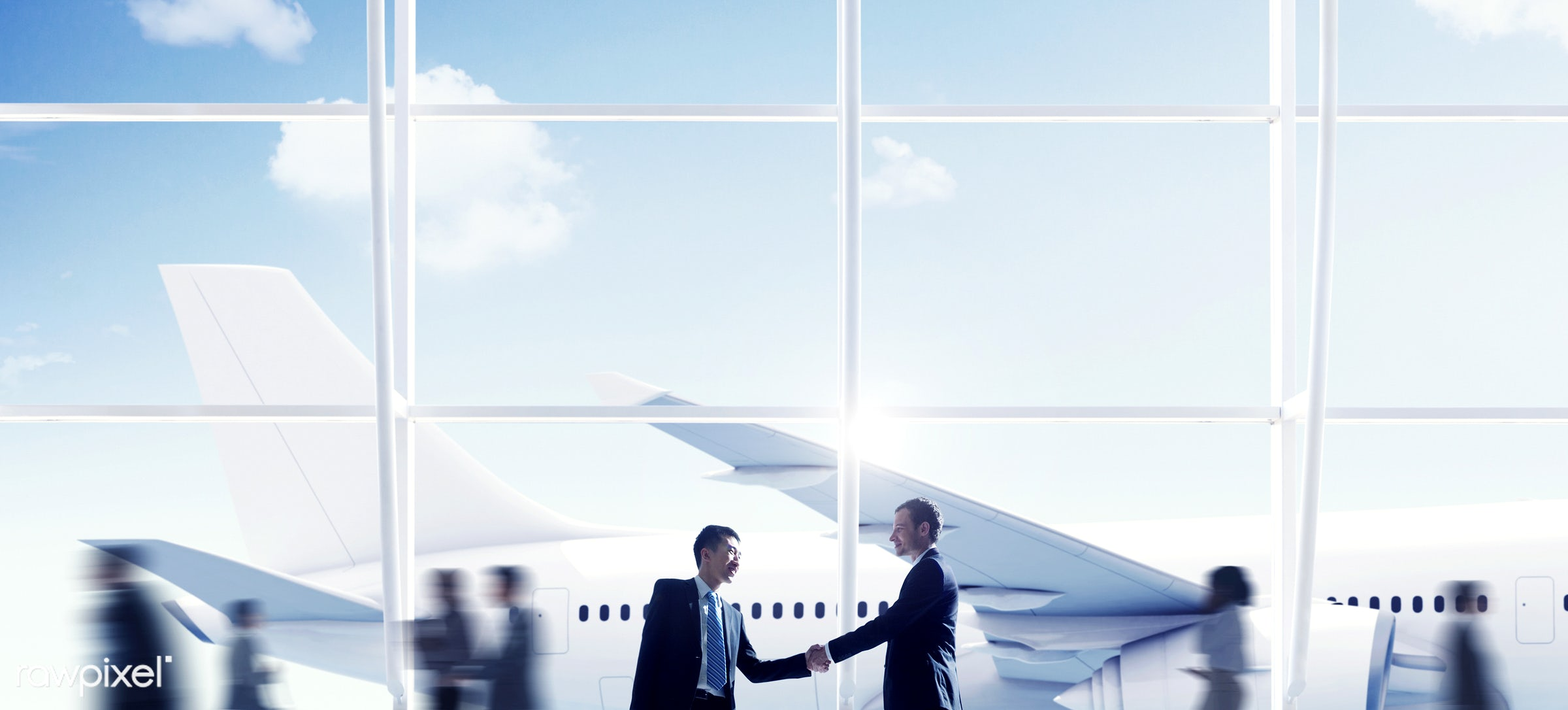agreement, aircraft, airplane, airport, business people, business travel, businessmen, businesswomen, cheerful,...