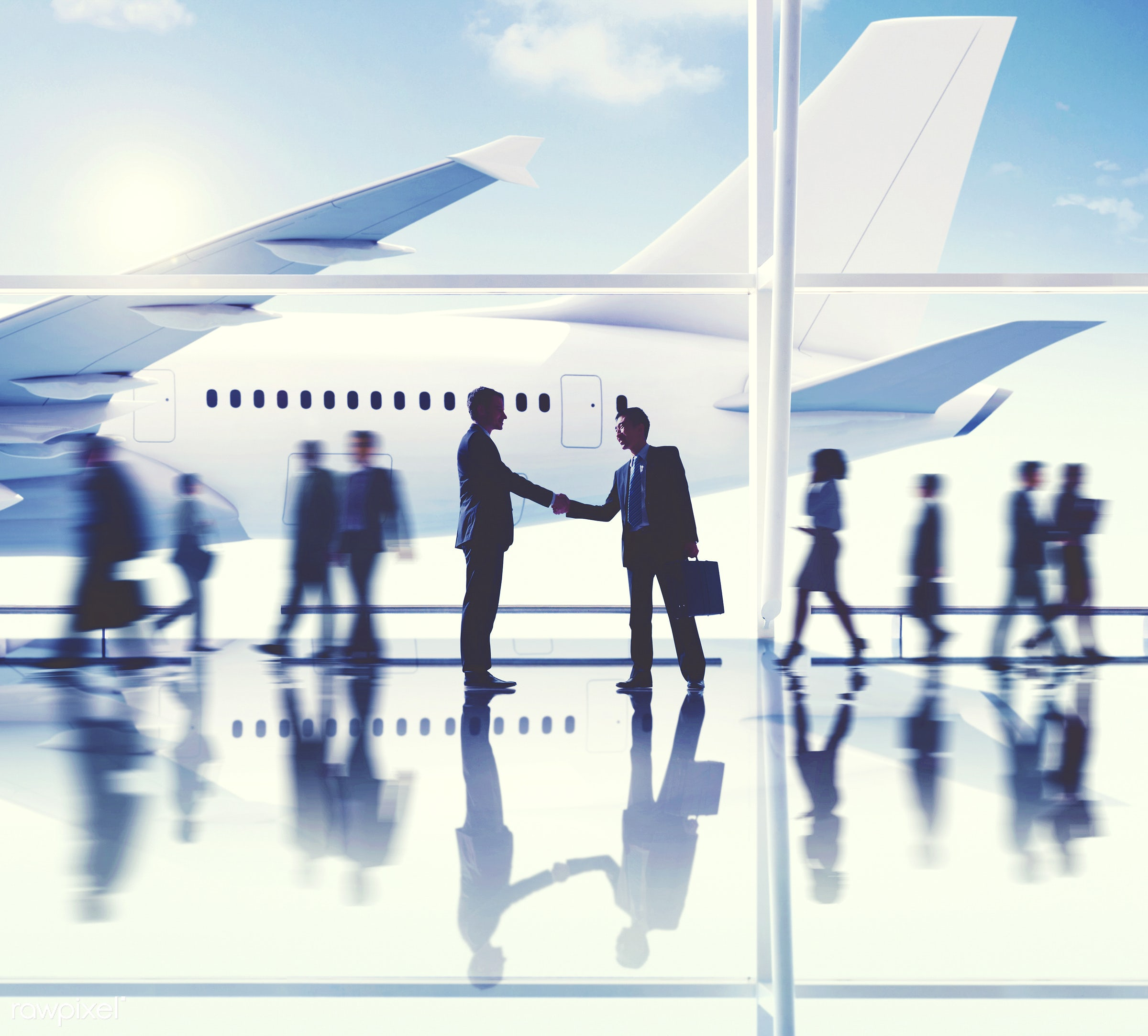 agreement, airplane, airport, business people, business travel, business trip, businessmen, businesswomen, cheerful,...