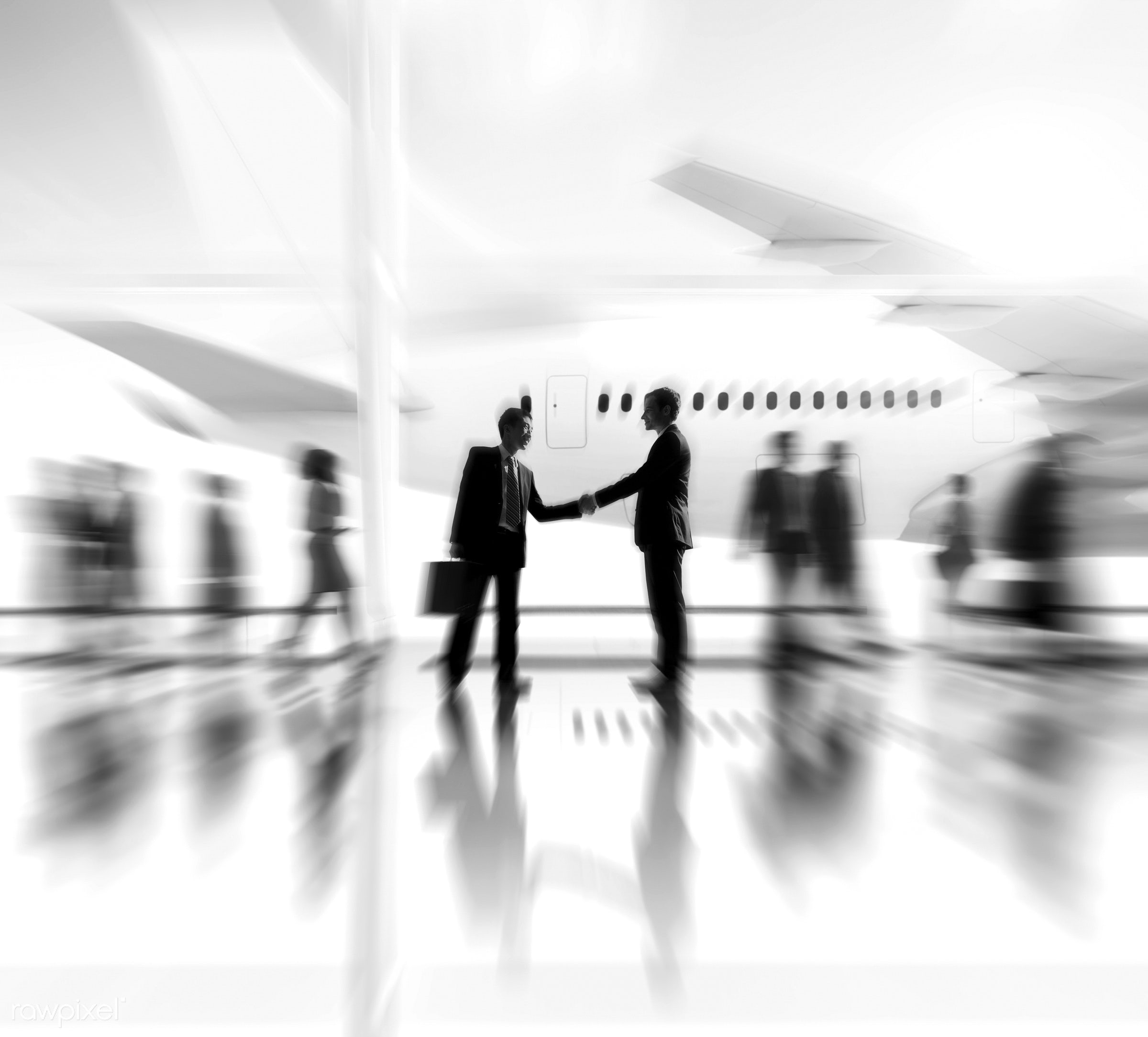 agreement, airplane, airport, business, business people, business travel, businessmen, businesswomen, cheerful,...
