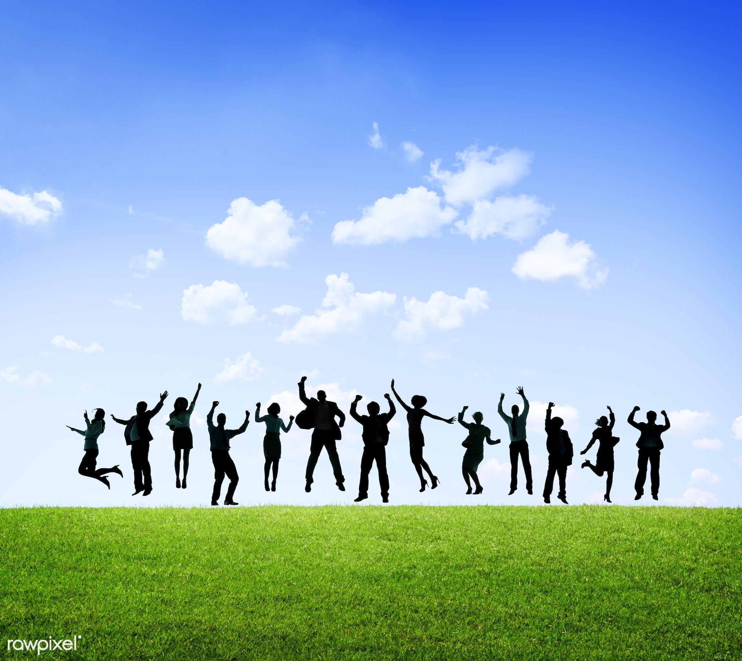achievement, arms raised, aspiration, blank, business, business people, businessmen, businesswomen, celebrating, celebration...