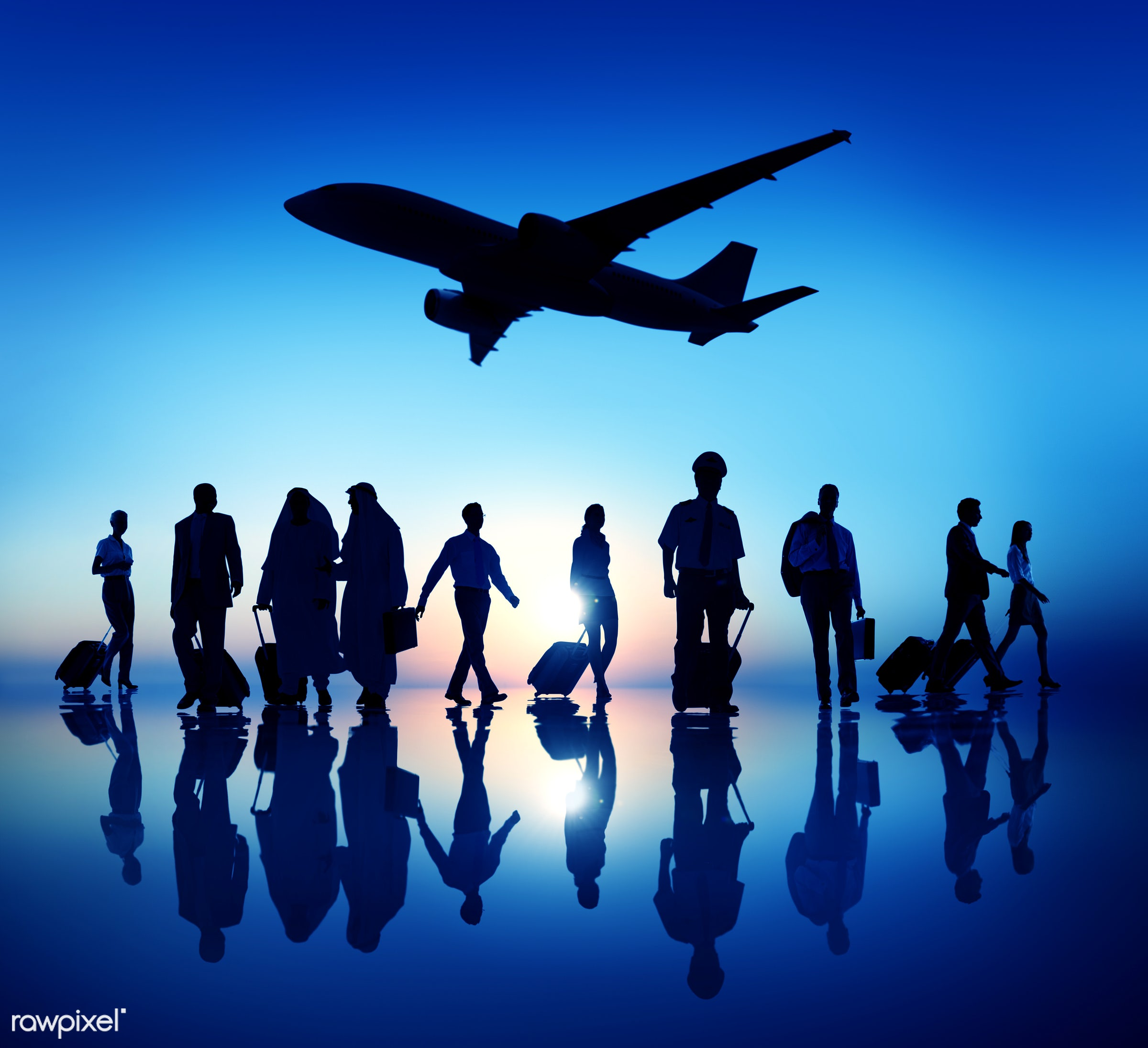 3d, airline, airplane, back lit, blue, business, business people, business travel, businessmen, businesswomen, corporate,...