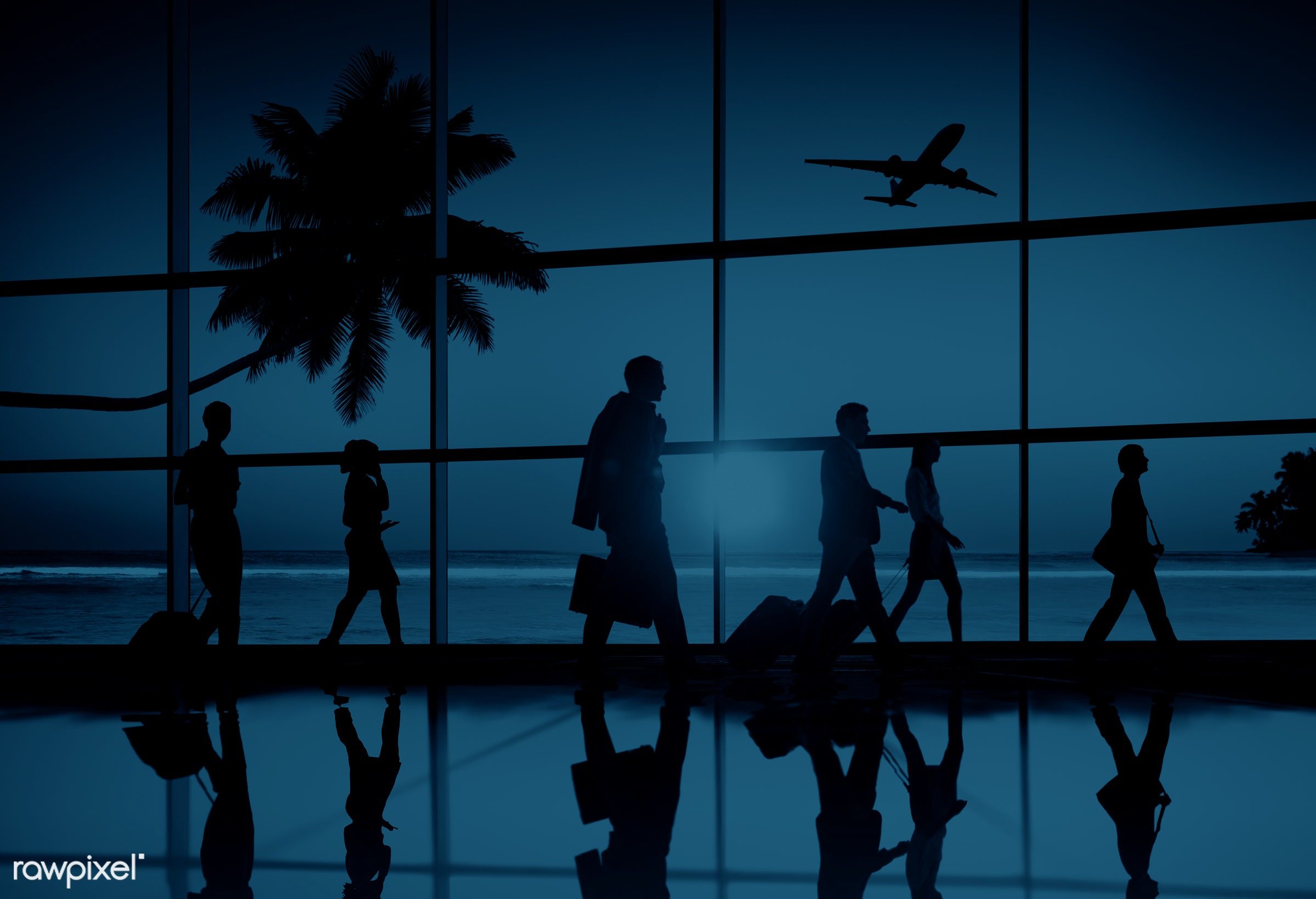3d, airline, airplane, airport, back lit, beach, blue, business people, business travel, businessmen, businesswomen,...