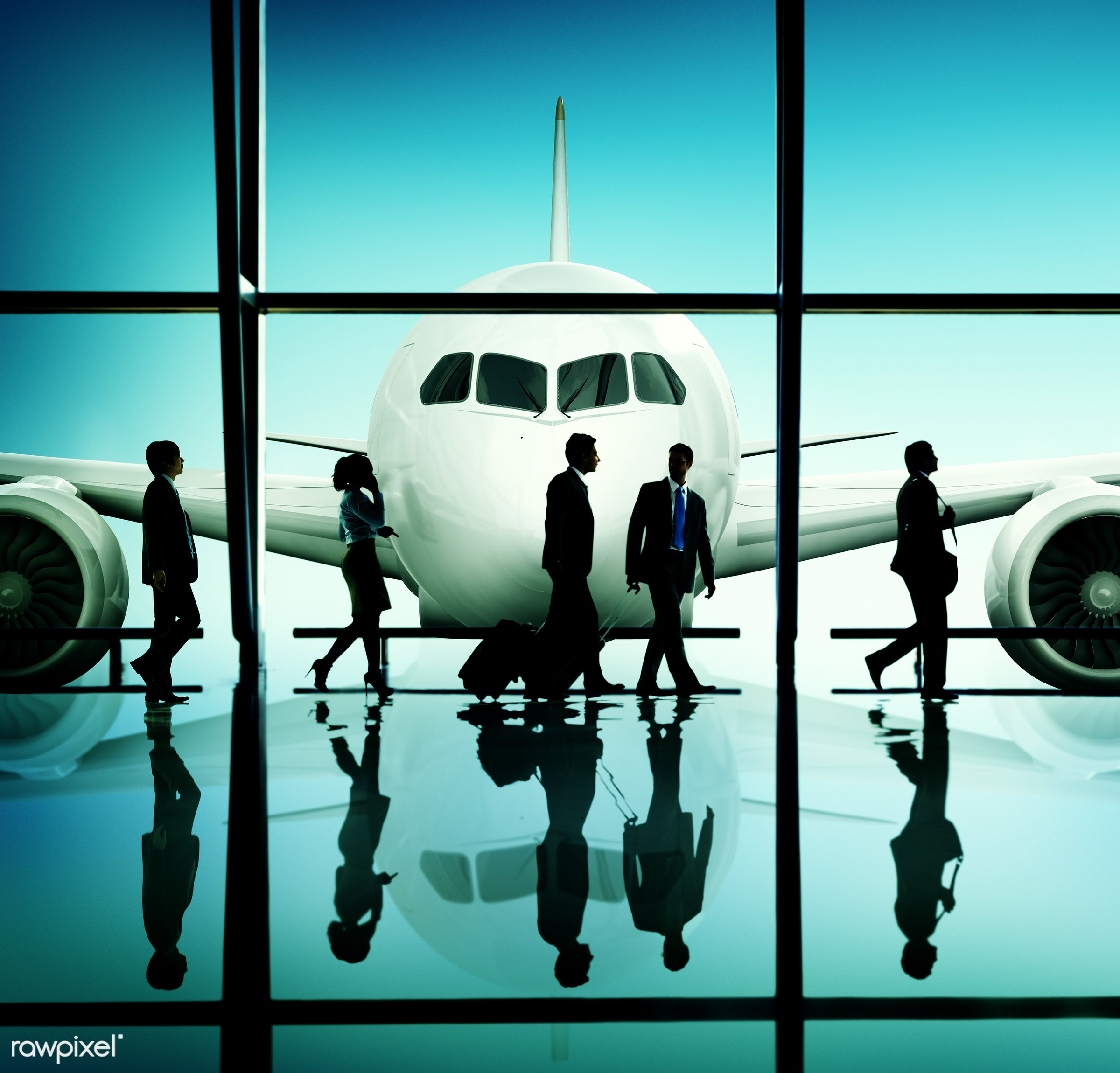 3d, airline, airplane, airport, back lit, business people, business travel, businessmen, businesswomen, departure, flight,...