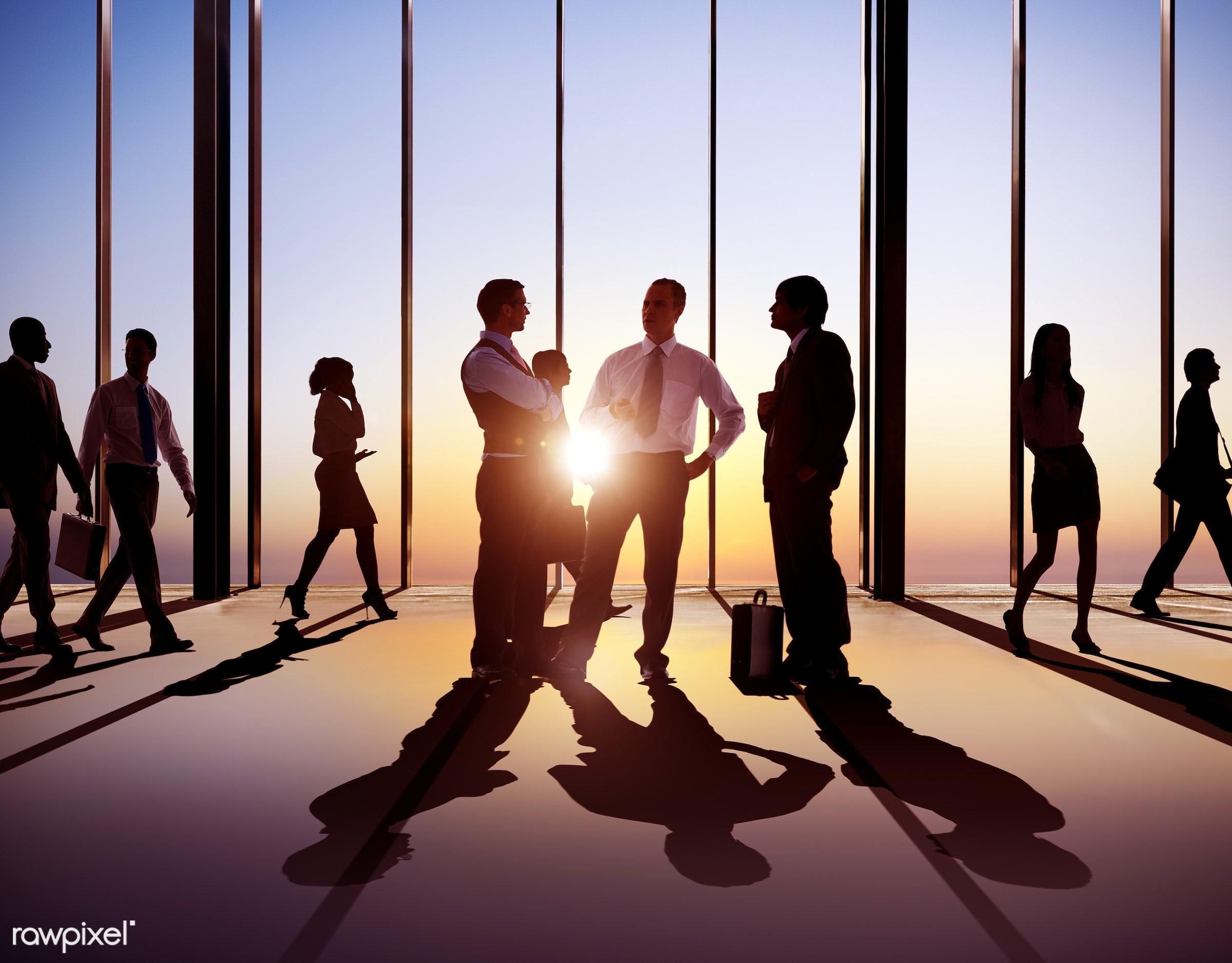 dusk, asian ethnicity, back lit, building interior, business, business people, businessmen, businesswomen, busy, career,...