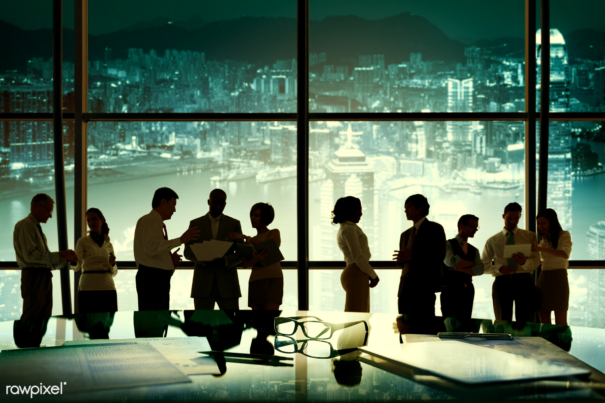 back lit, board room, brainstorming, business, business people, businessmen, businesswomen, city, cityscape, communication,...